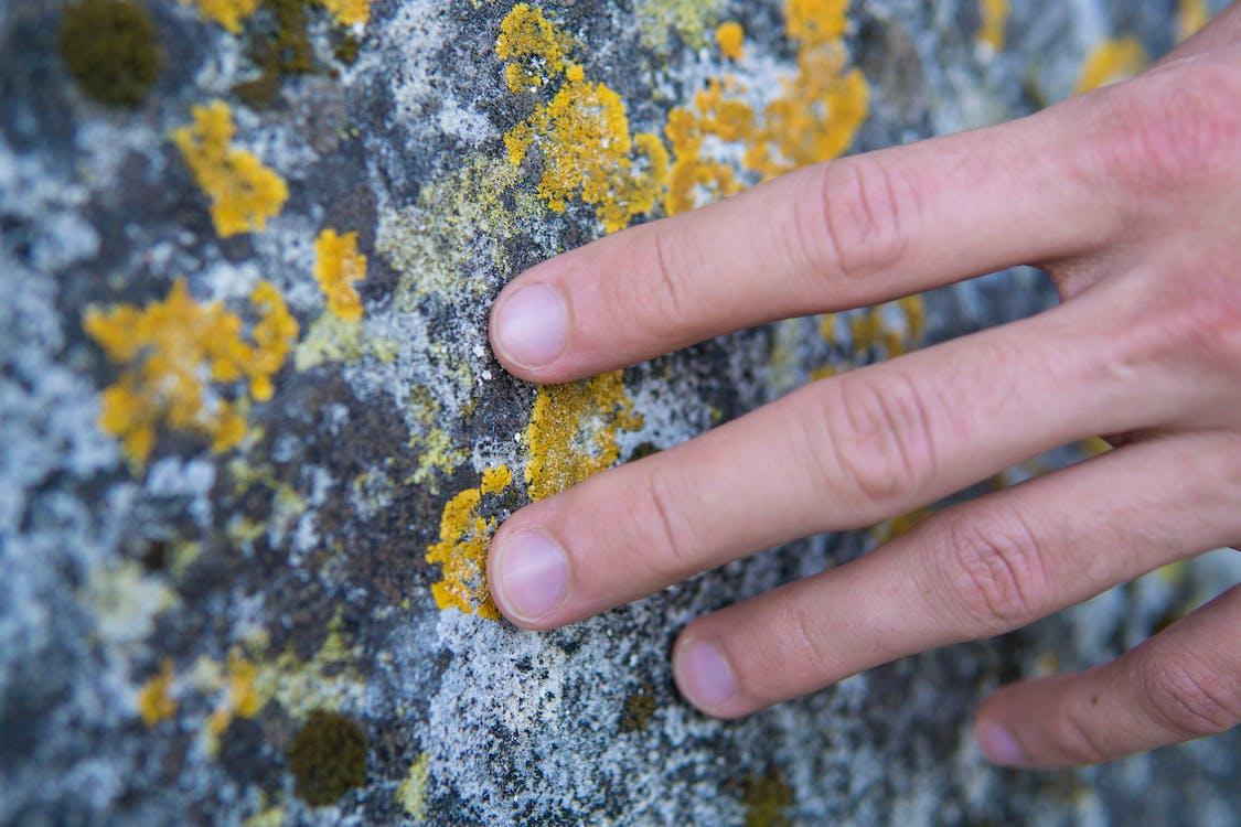 Person Touching Stone