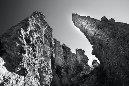 Gray Scale Image of Stone Tower