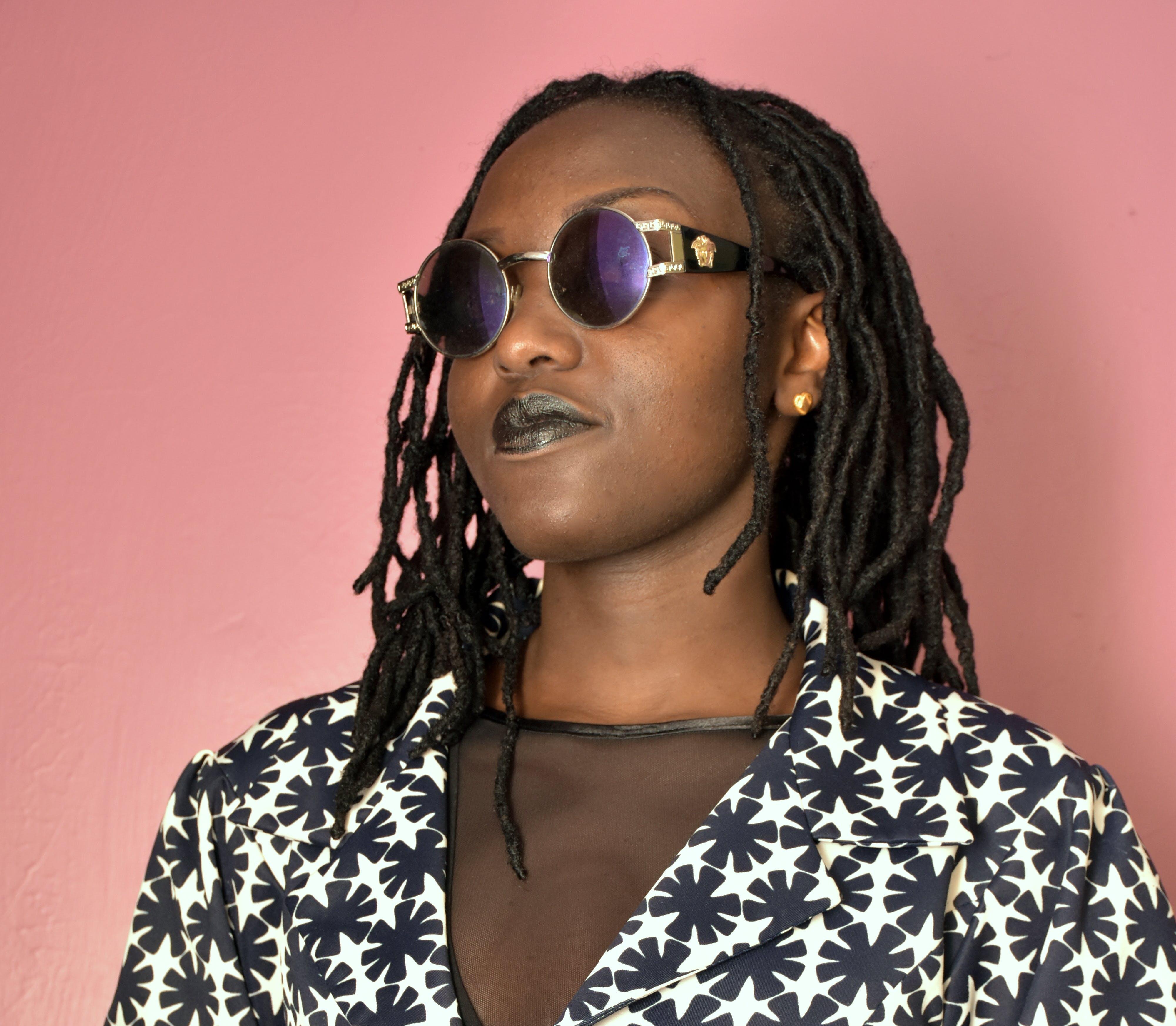 Woman Wearing Silver Framed Hippie Sunglasses
