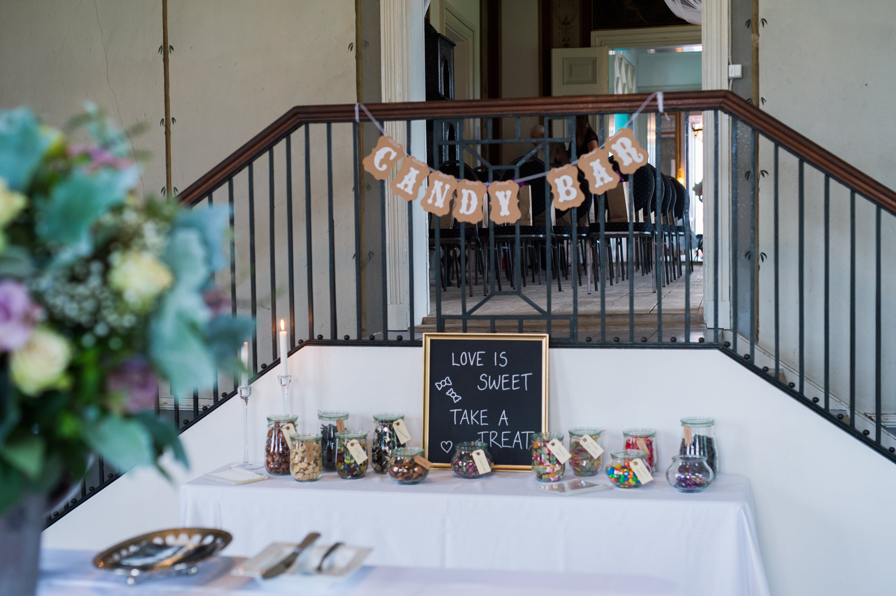 Candy Bar Hanging Decor on Railings