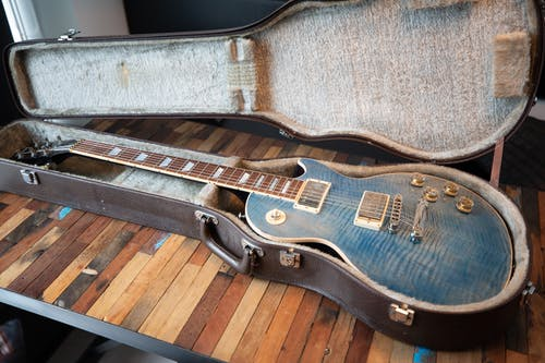 Blue Les Paul Electric Guitar With Gig Bag