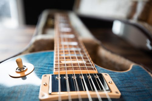 Blue and Brown Guitar