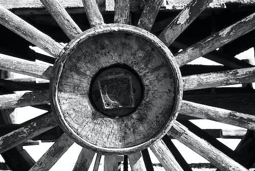 Darmowe zdjęcie z galerii z czarno-biały, drewniany, drewno, koło