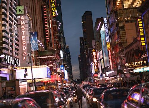 Imagine de stoc gratuită din centrul orașului, NYC, viață de noapte