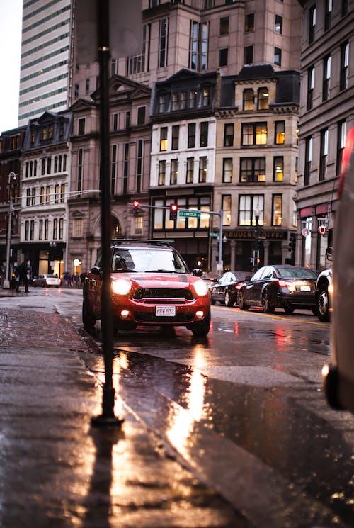 Imagine de stoc gratuită din boston, faruri auto, luminile orașului