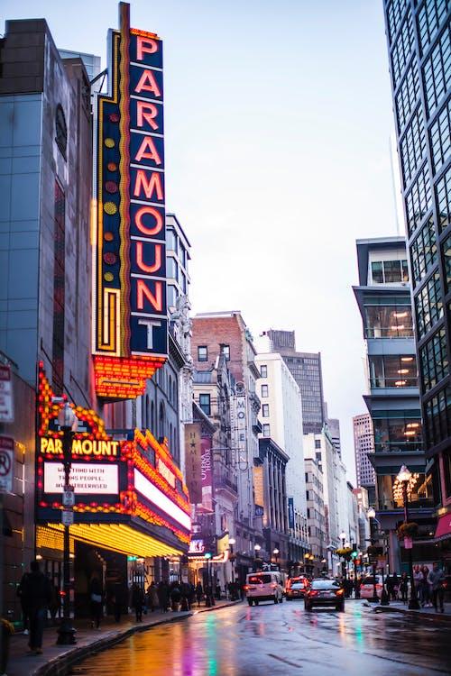 Imagine de stoc gratuită din boston, extrem, luminile orașului, picături de ploaie