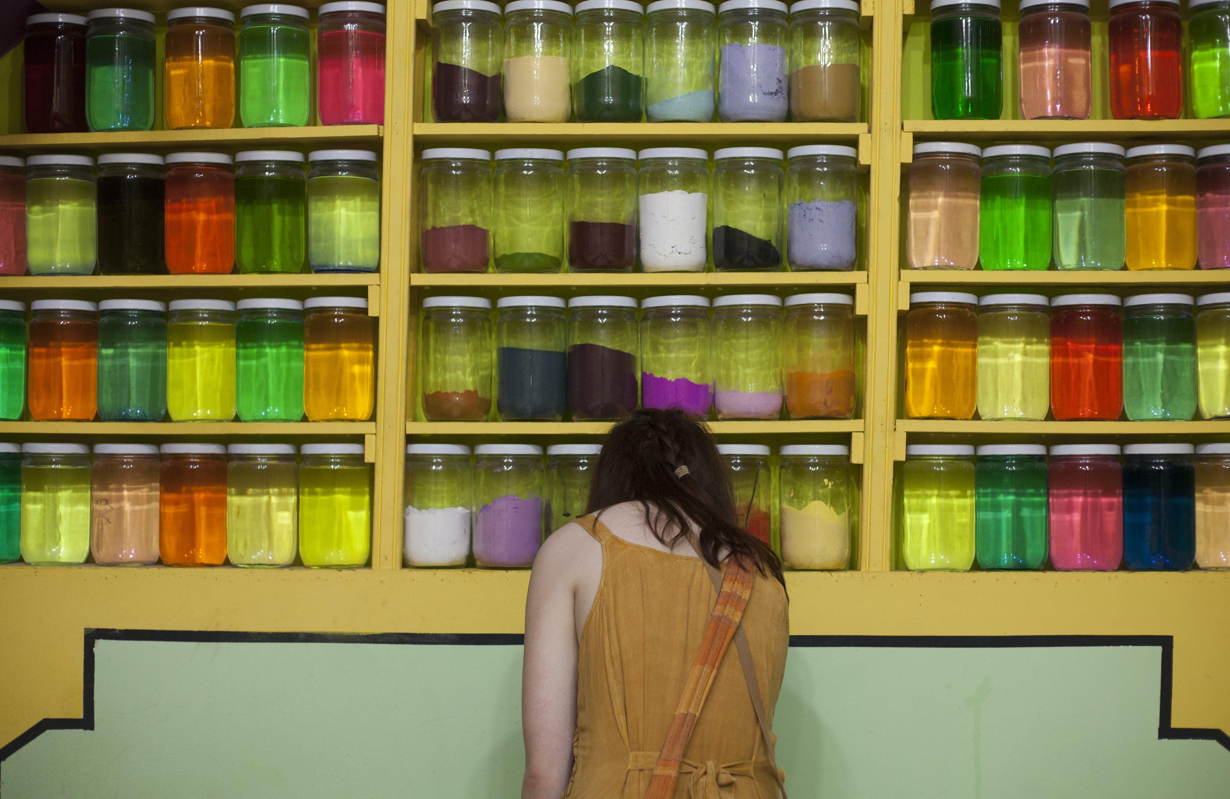 Free stock photo of colours, jars, market, yellow