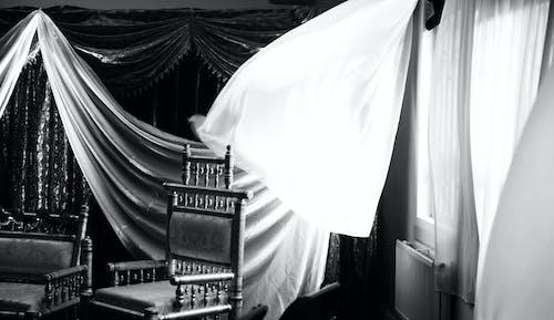 คลังภาพถ่ายฟรี ของ ม่าน, ลม, เก้าอี้