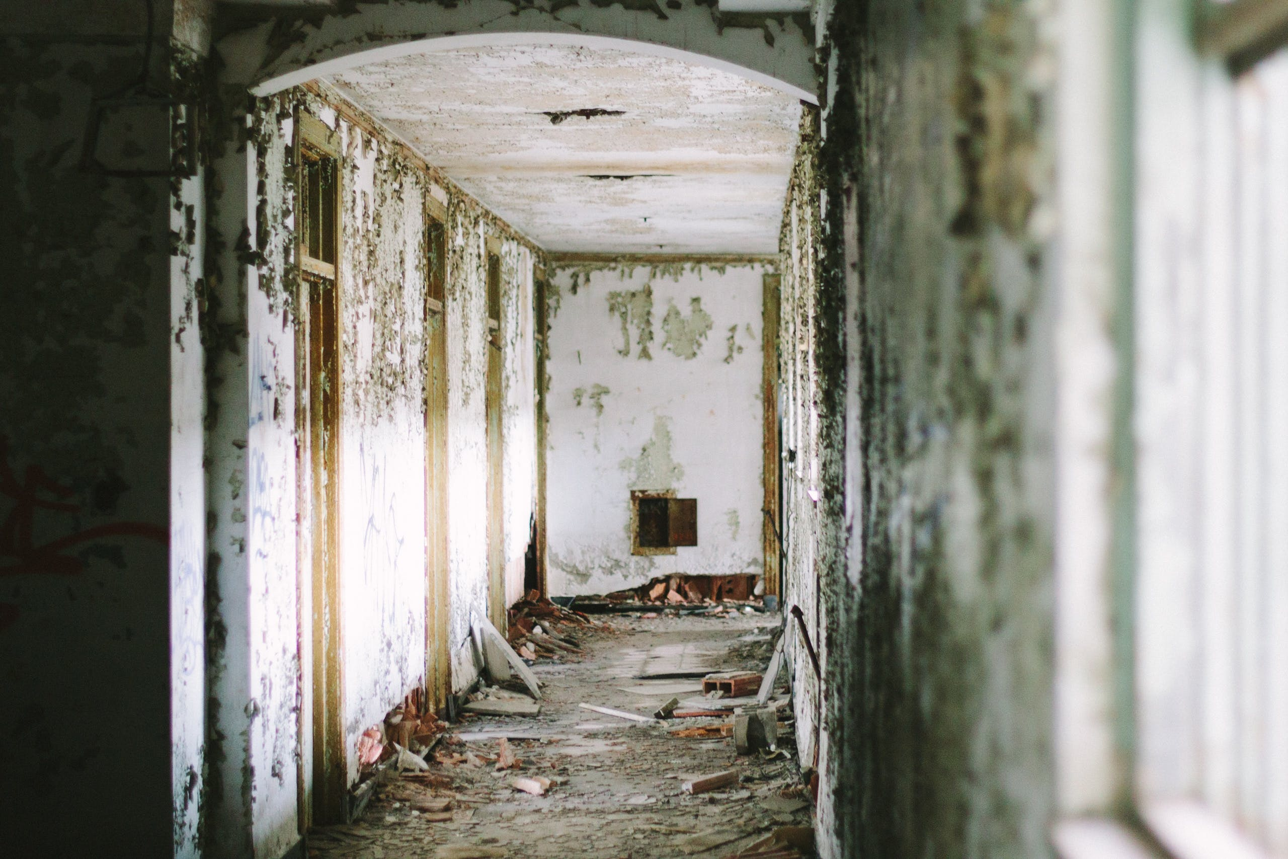 bangunan, cemar, dalam ruangan, diabaikan