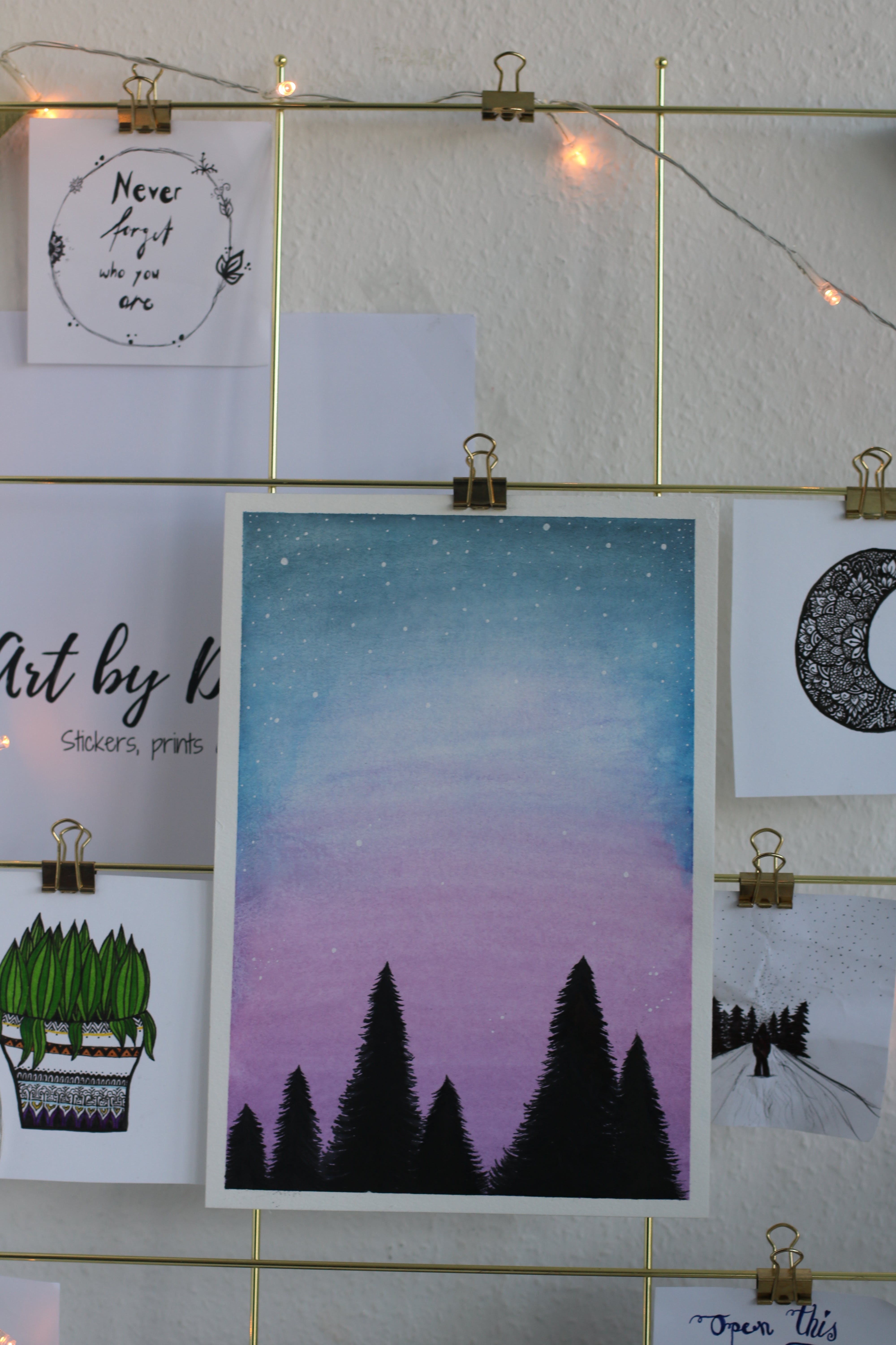 Silhouette of Trees Painting