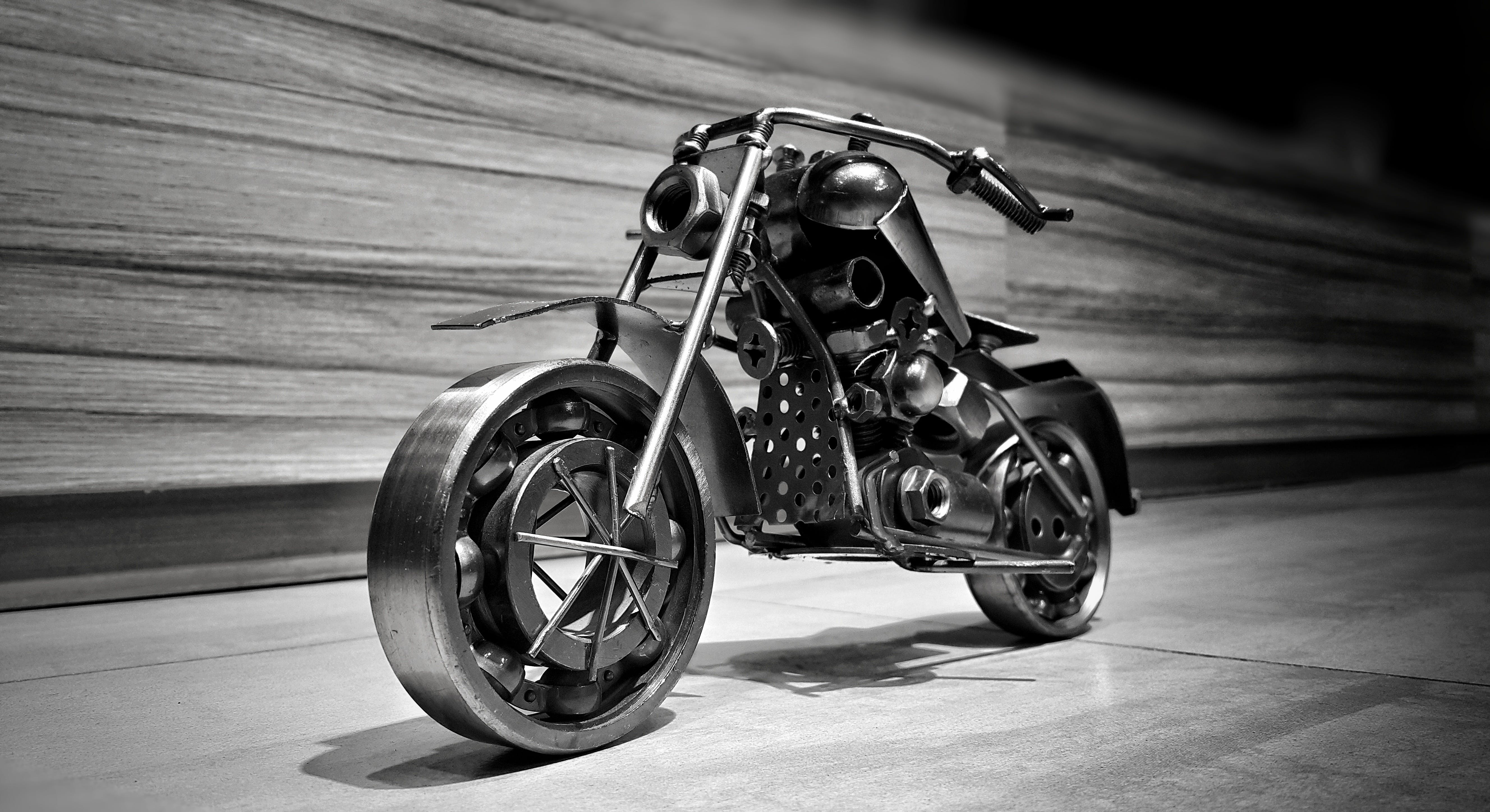 Free stock photo of bike, black and white, bolts, decoration