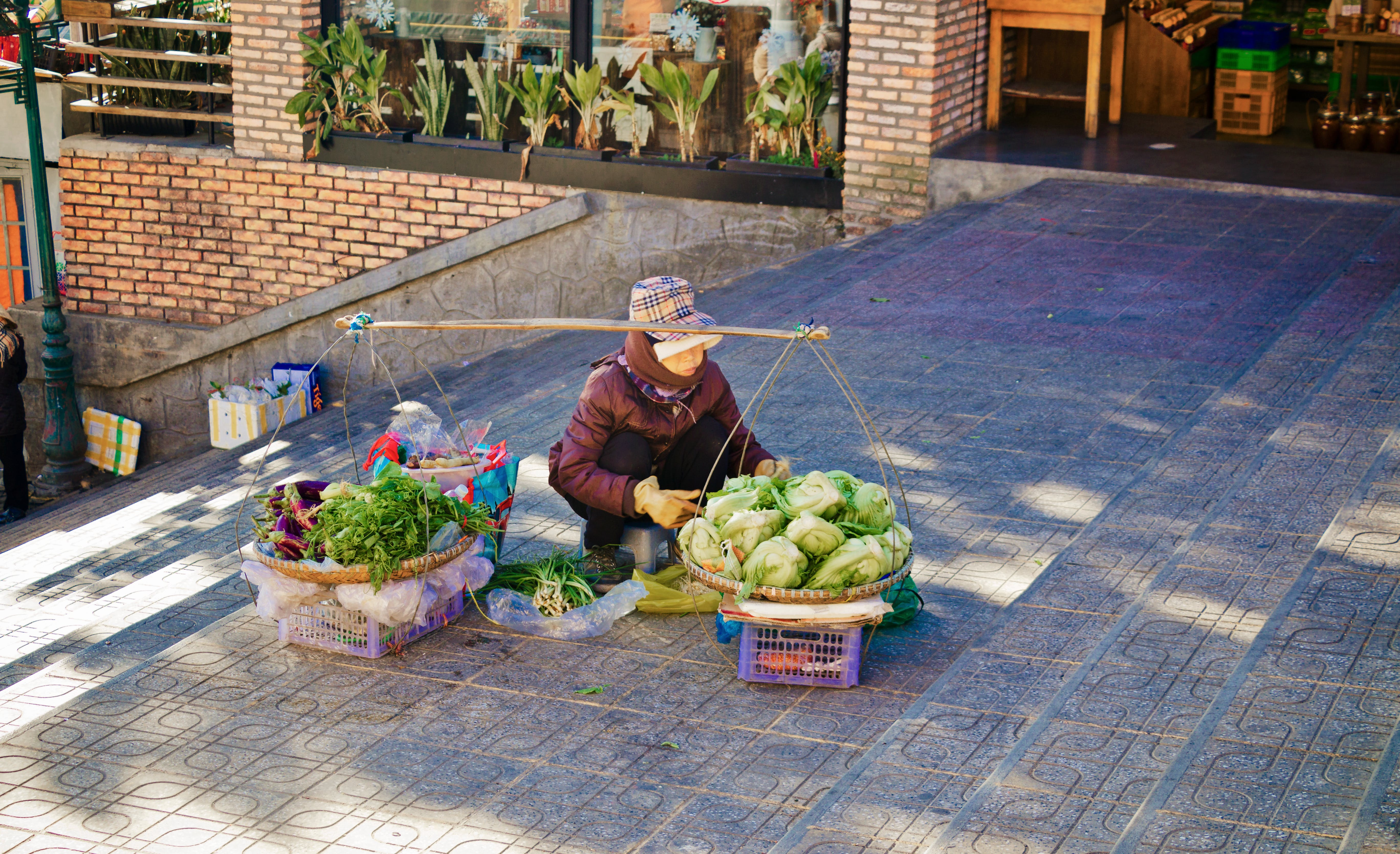 Vegetable Vendor Near Stairs