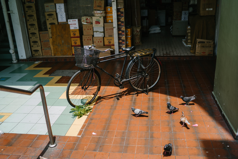 Black Commuter Bike Parked Ahead