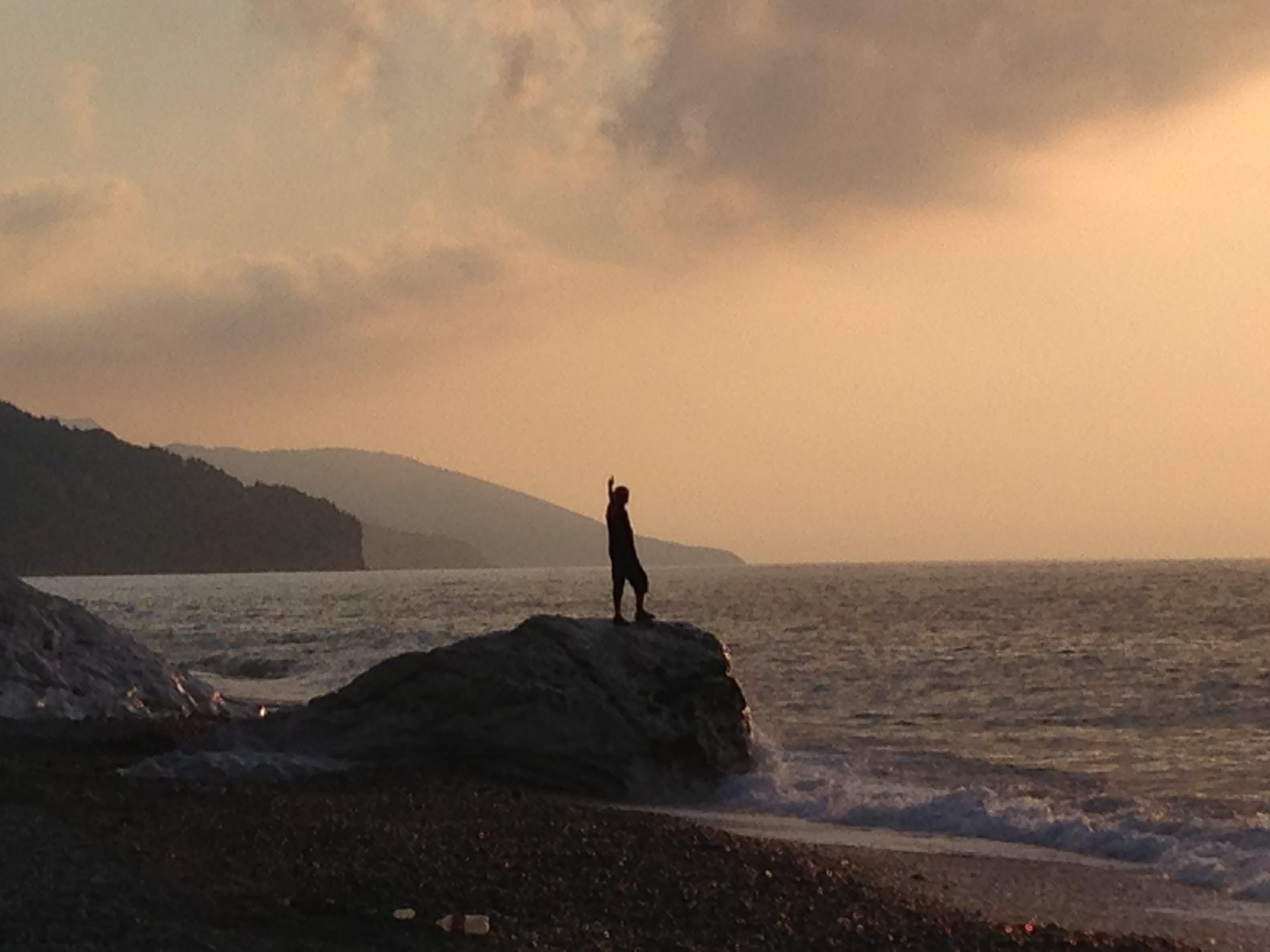 Free stock photo of sea sunset man