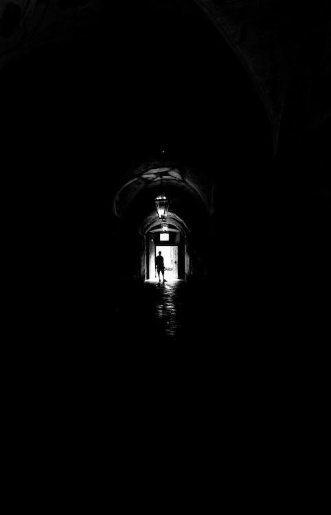 architektura, černobílý, lampa