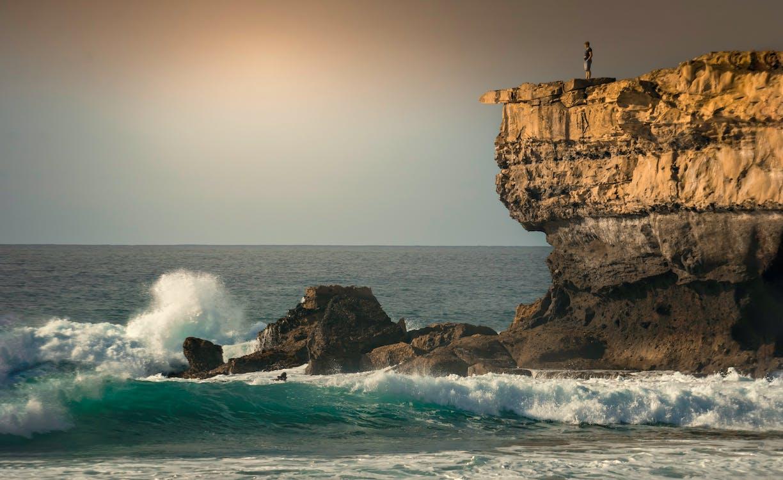 bølger, gylden time, hav