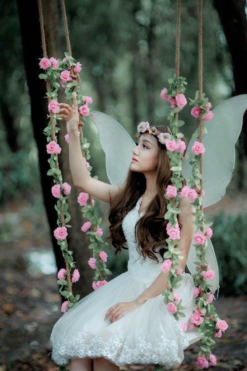 Woman Posing Like Fairy