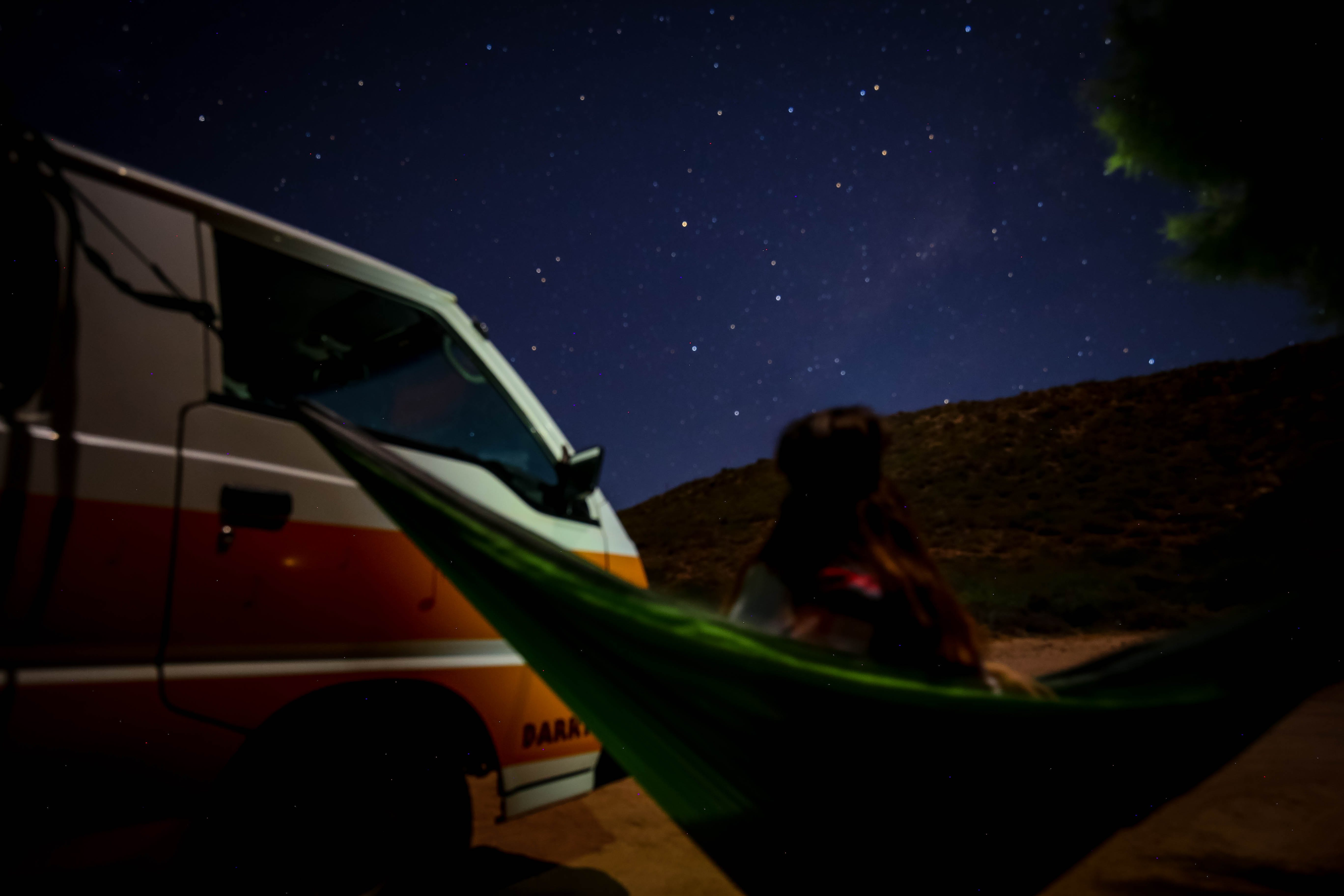 Free stock photo of campervan, caravan, girl, hammock