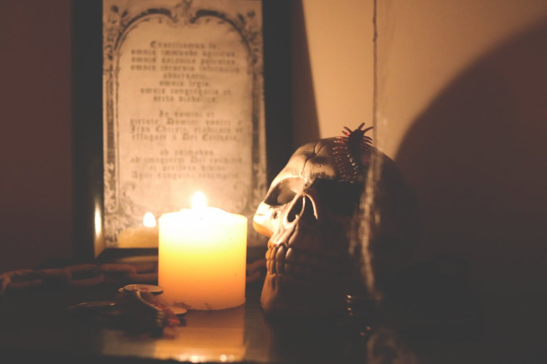 bougies, effrayant, fête d'halloween