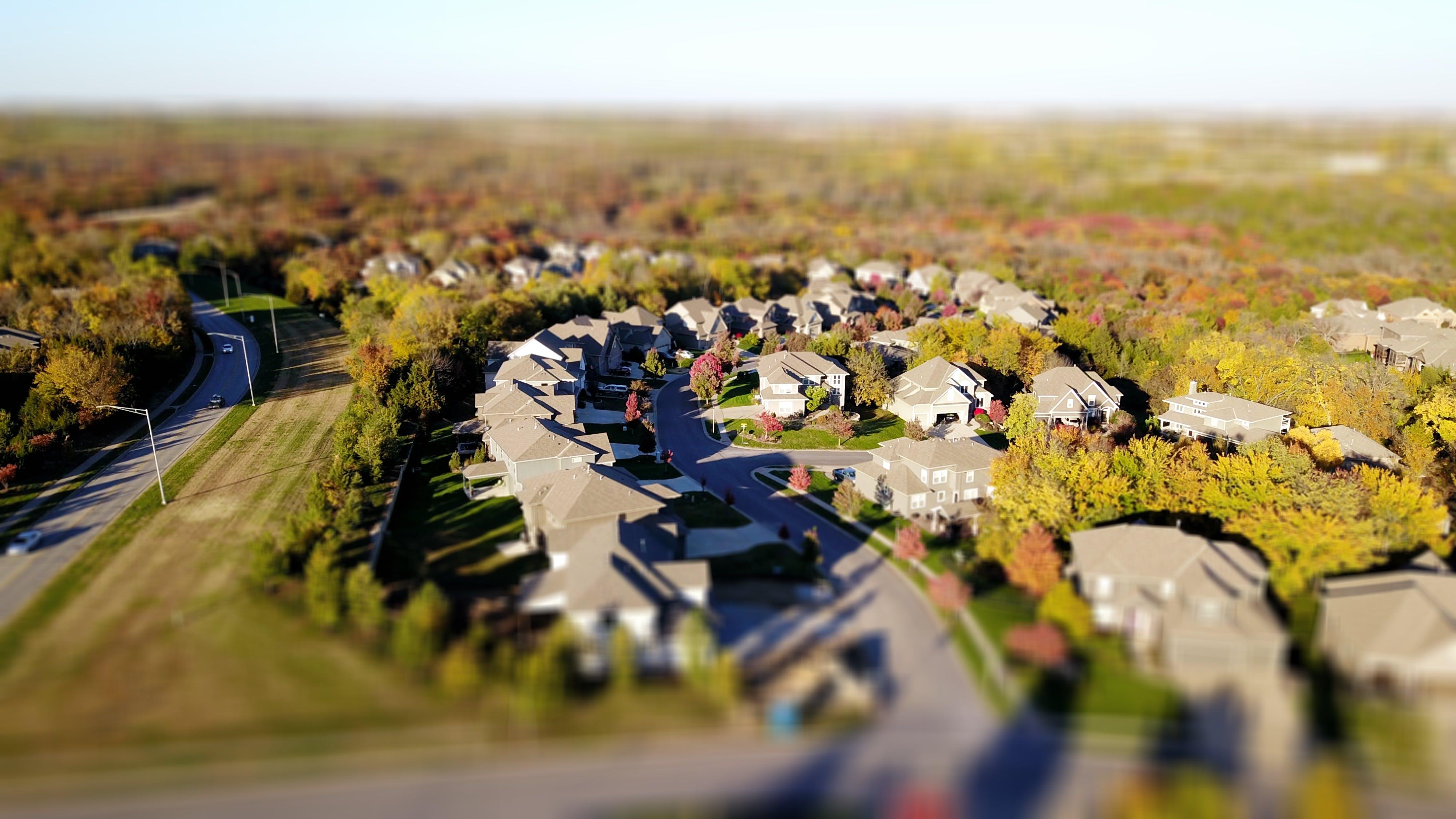 aerial photography, houses, neighborhood