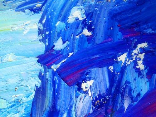 Бесплатное стоковое фото с абстрактная живопись маслом, абстрактный, акриловый, голубой