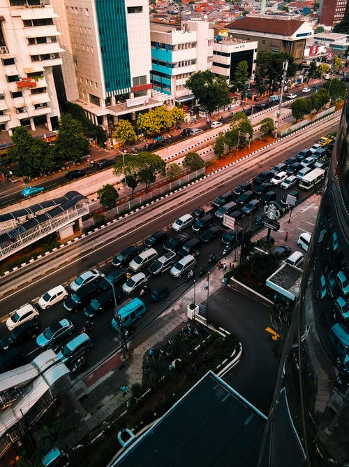 Bird's-eye View Photo of Vehicles on Roadway