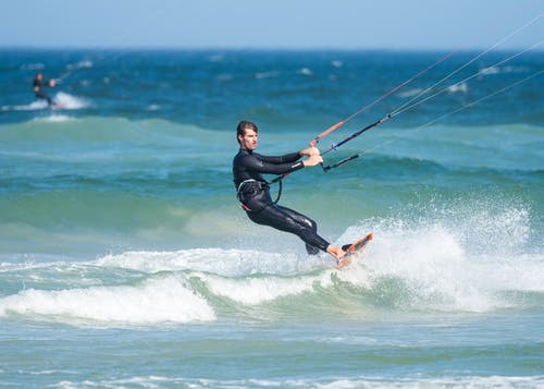 Man Parasailing While Wearing Wetsuit