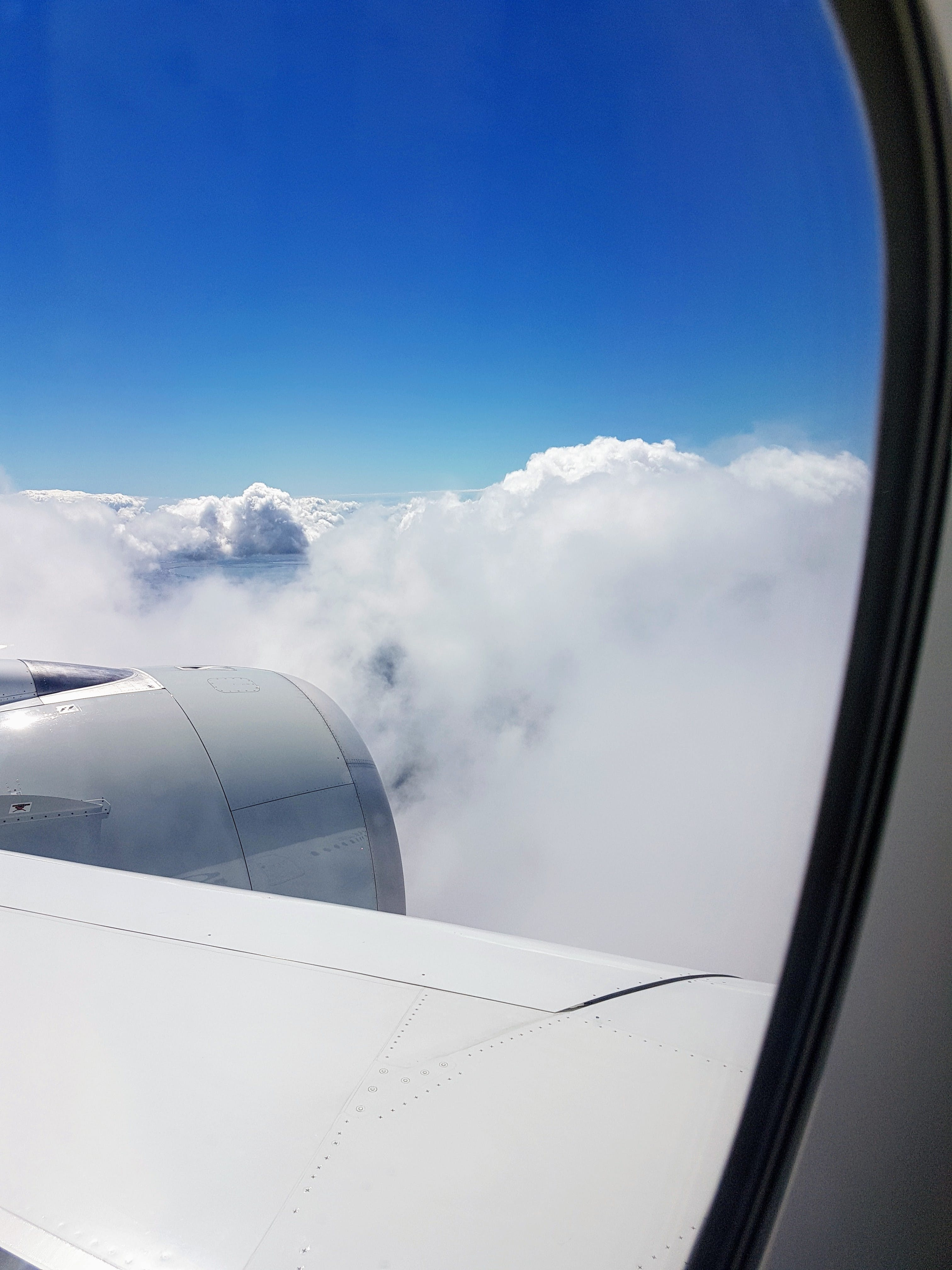 Airliner Window Showing Clouds