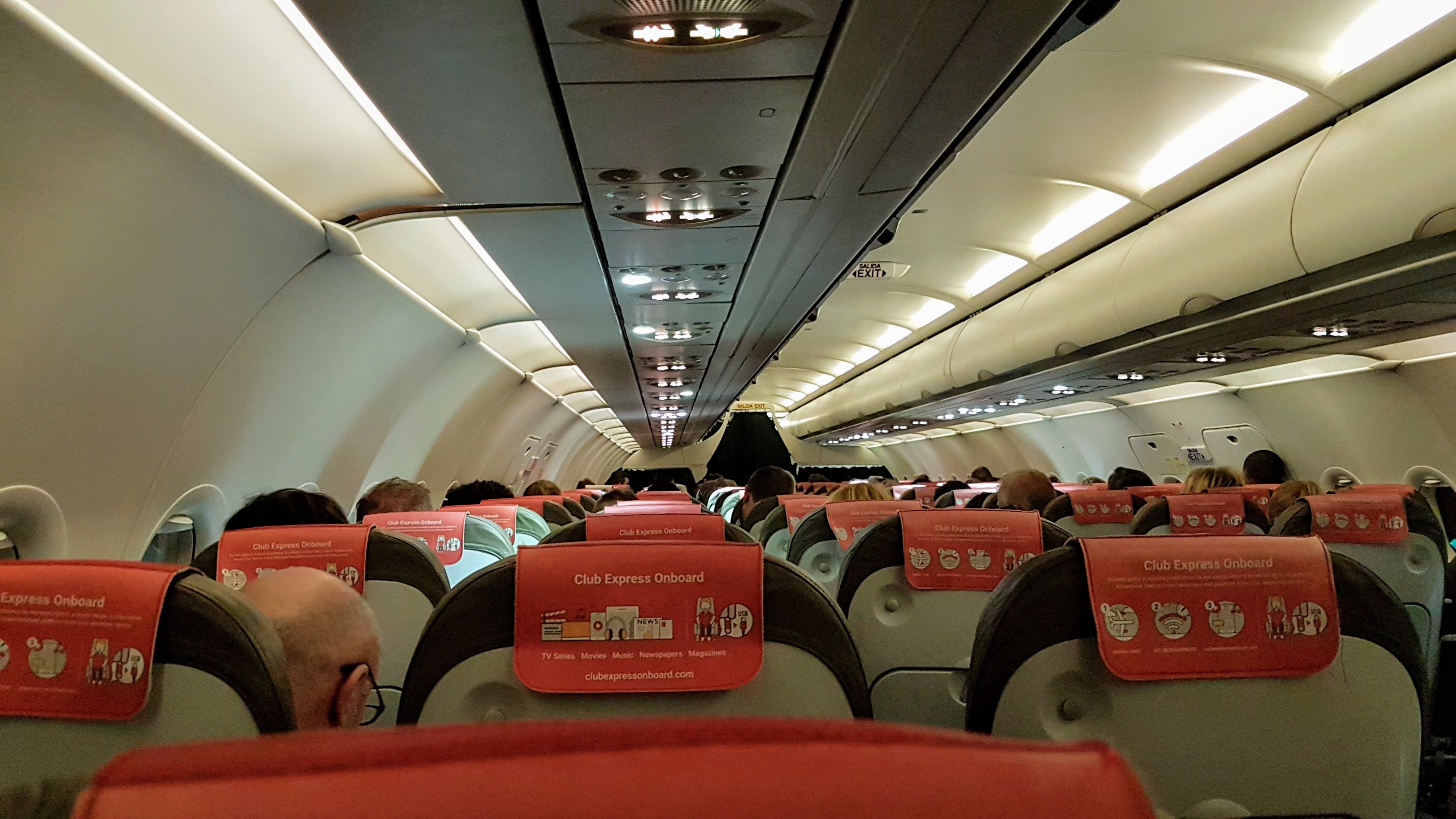 Interior of Airplane with Passengers