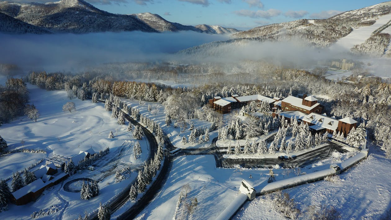 гора, заснеженная, зима