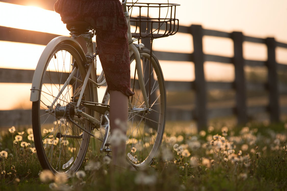Person Riding Bicycle Near Fence