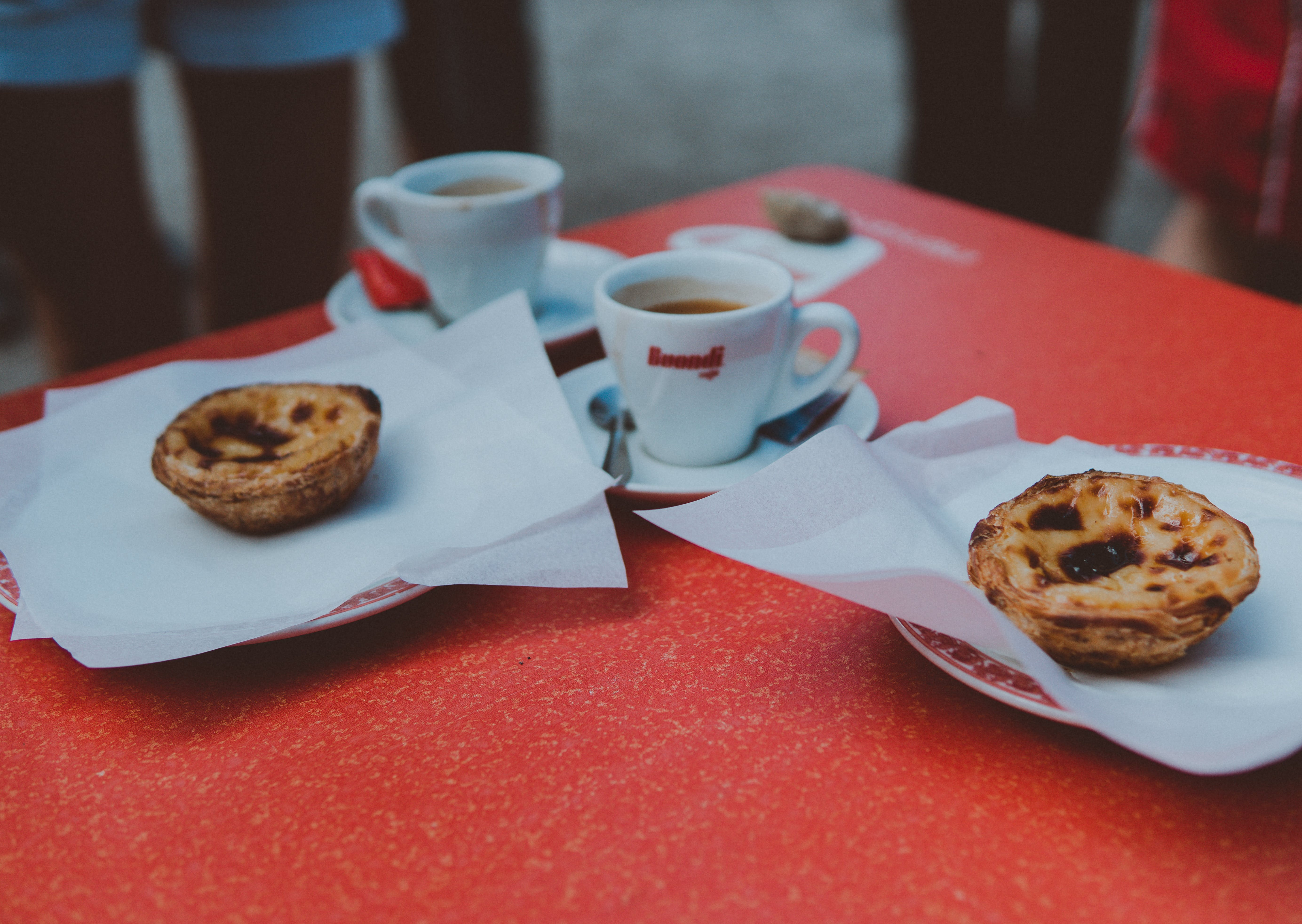 Two Baked Pastries in Plate on Table
