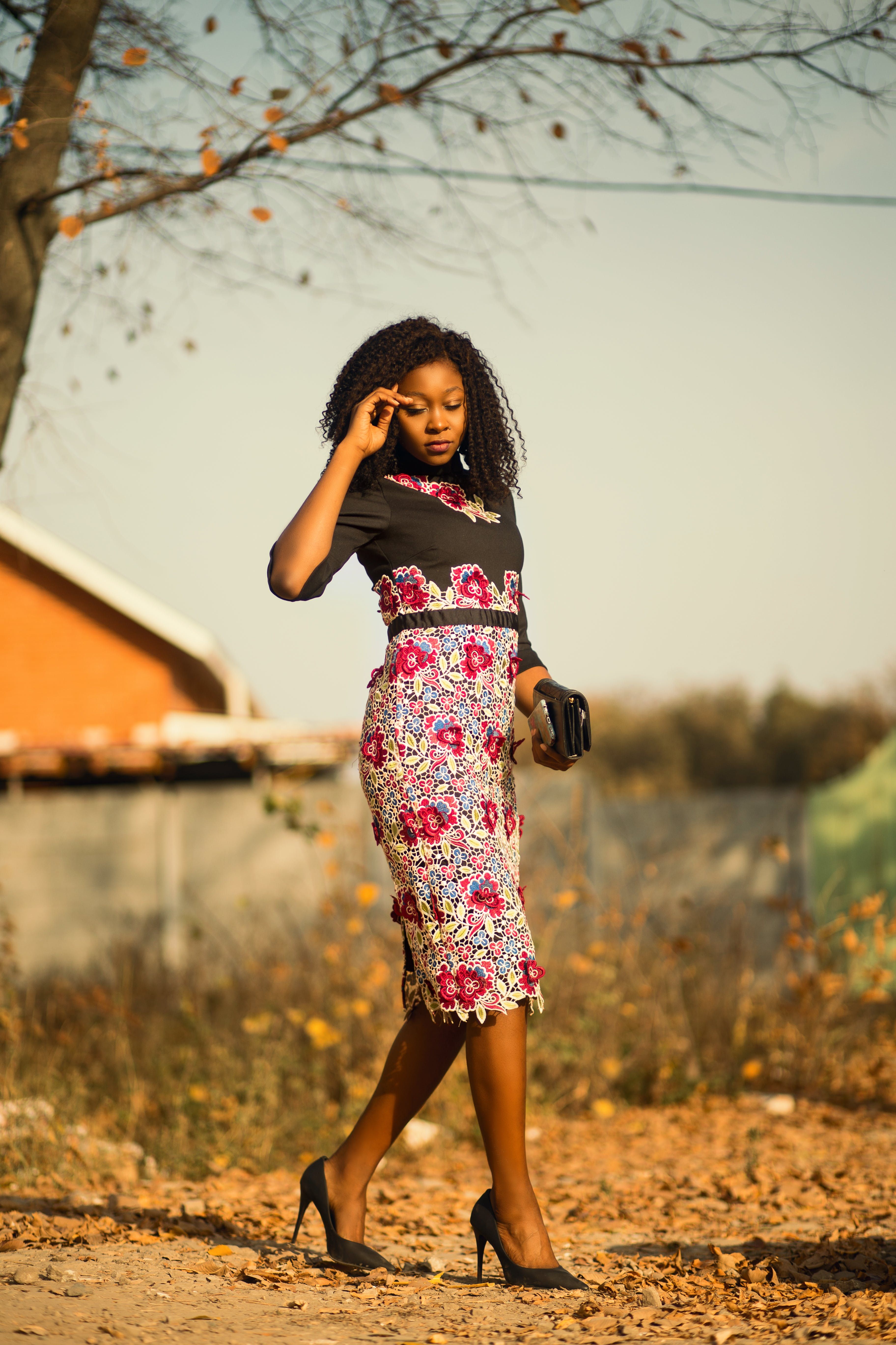 Woman on Floral Dress
