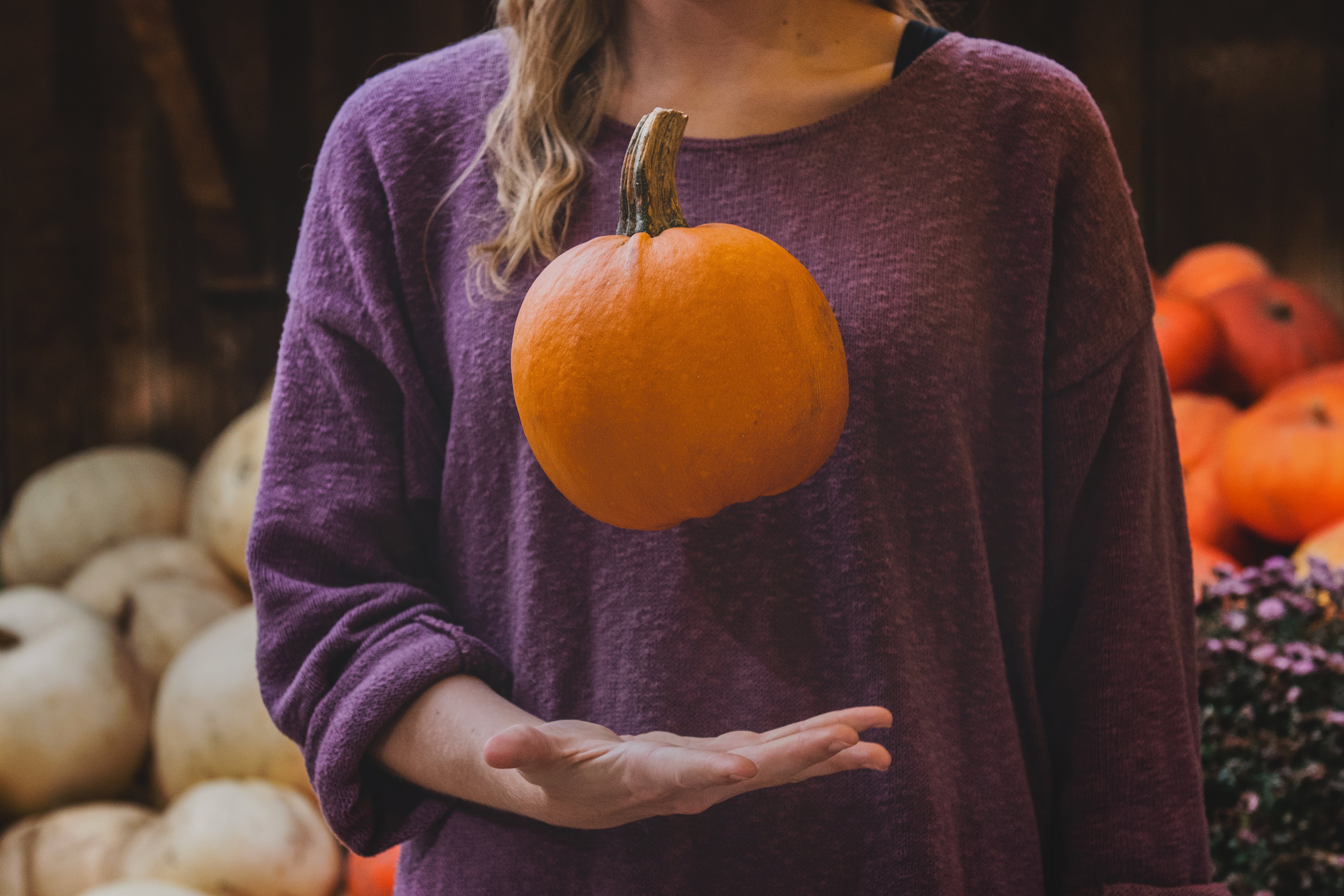 Photo of Woman With Pumpkin