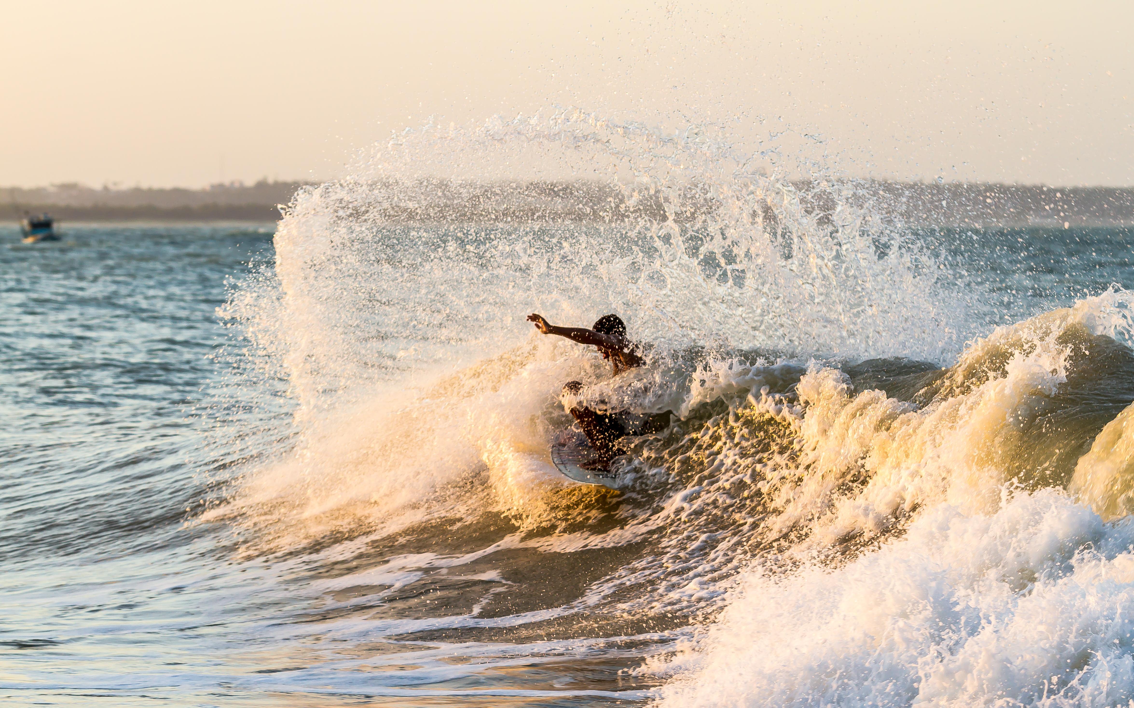 Boy Surfing Sea Wave