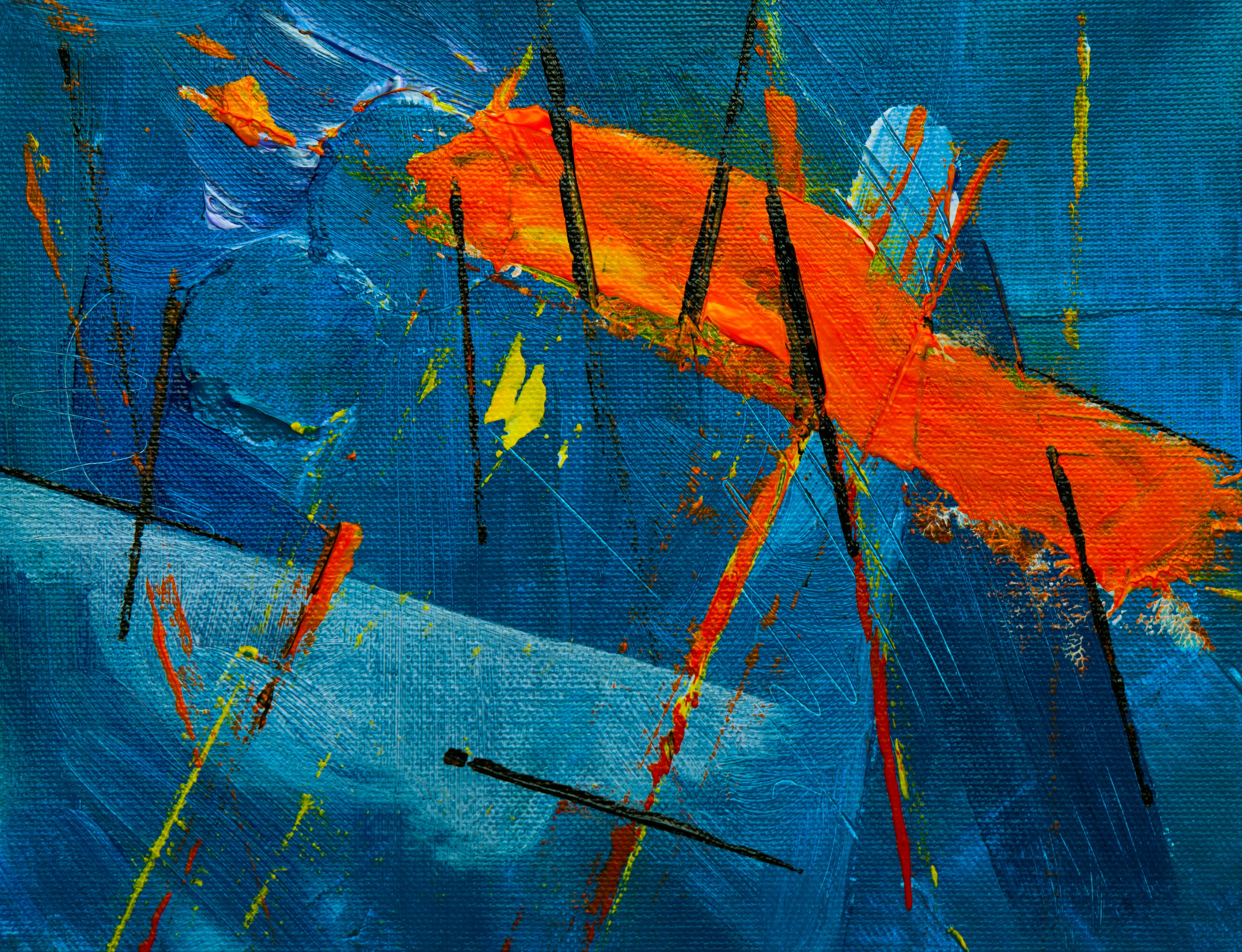 Blue, Orange, and Black Abstract Painting