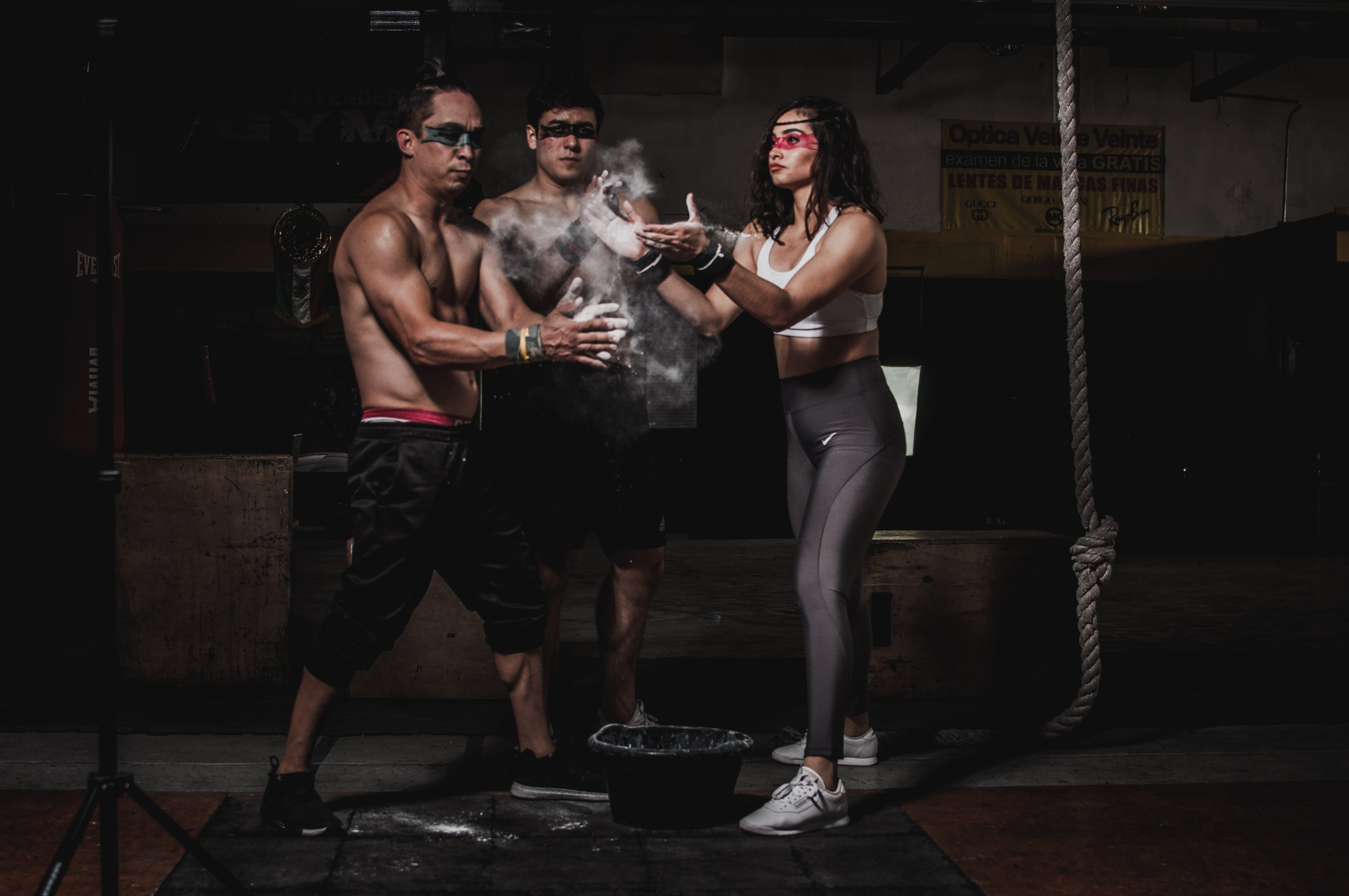 Three People in a Gym