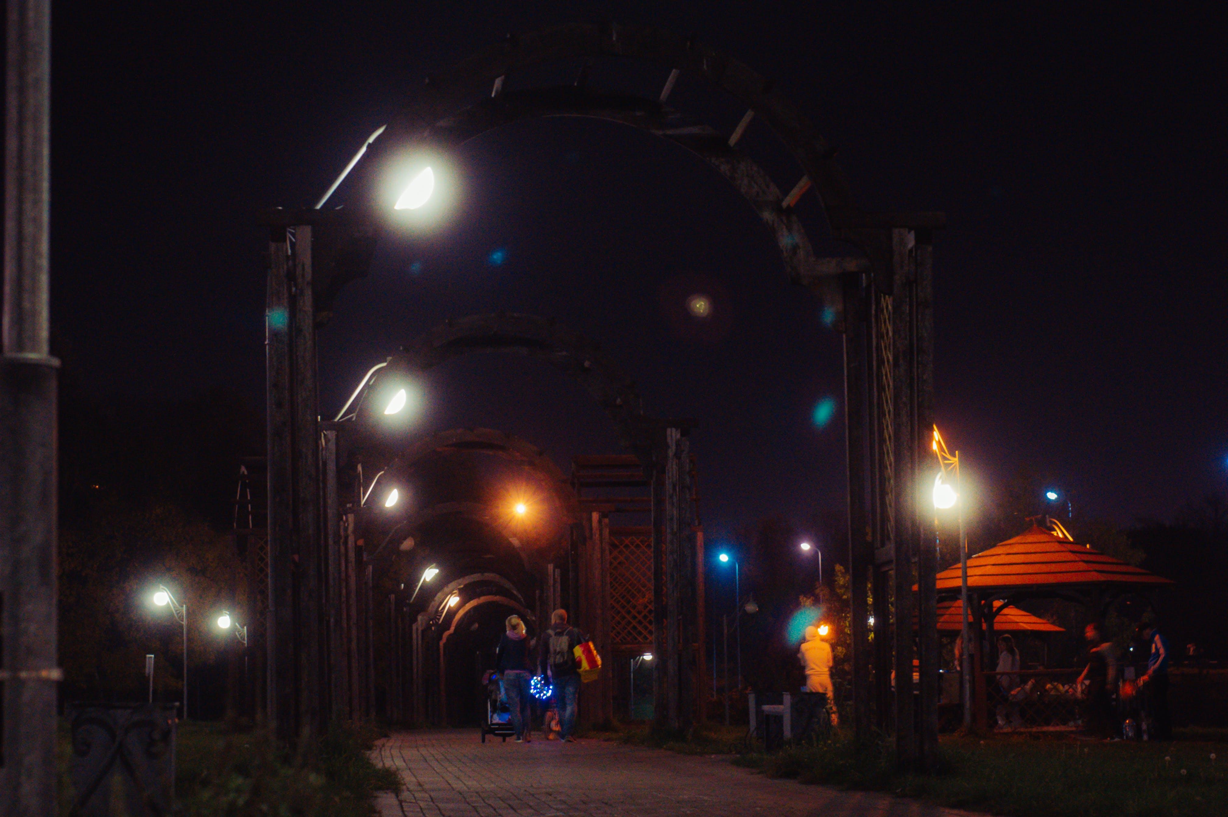 Free stock photo of Dark Sky, gazebos, lantern light, park