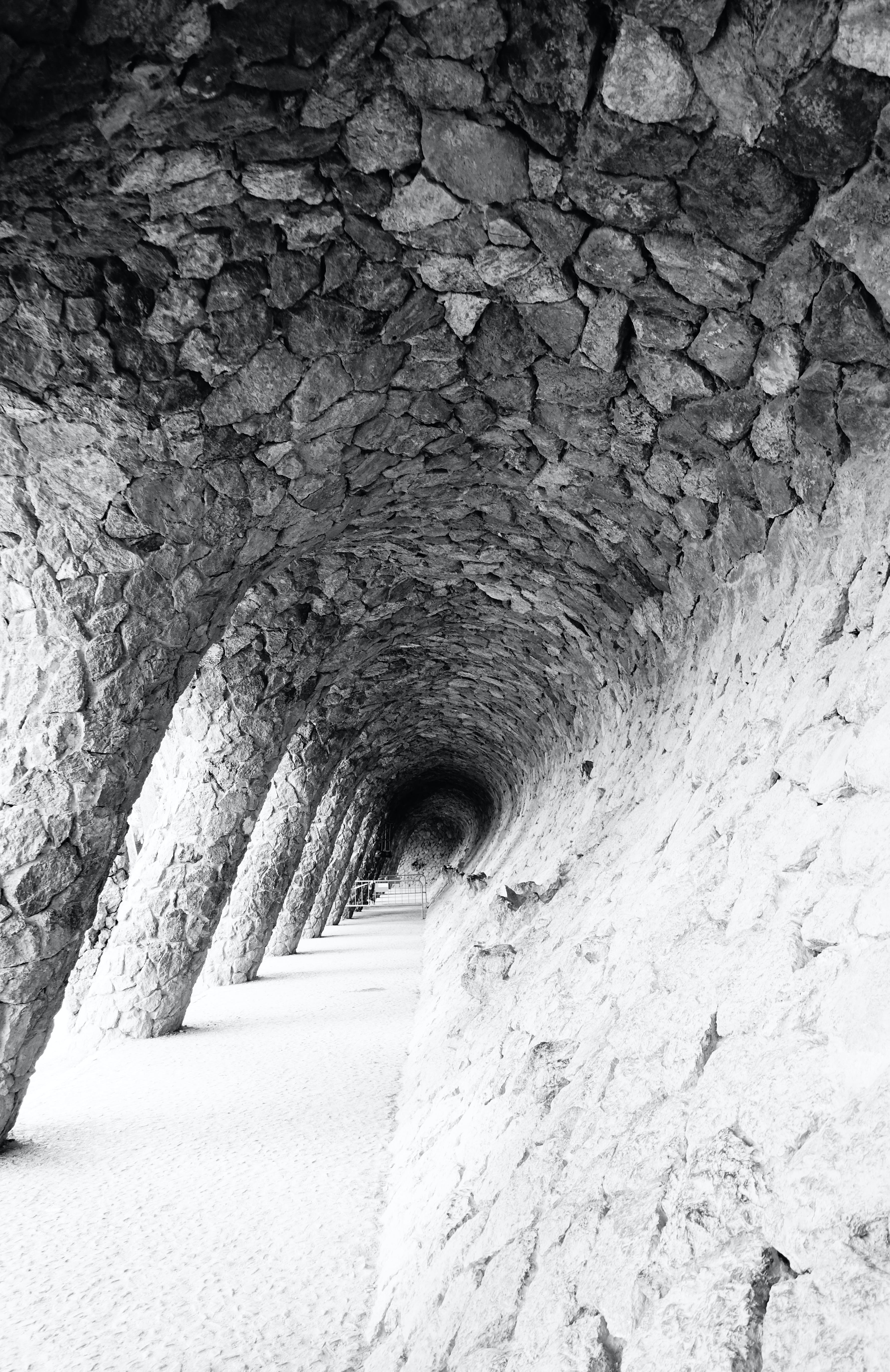 Free stock photo of architecture, black and white, tunnel view