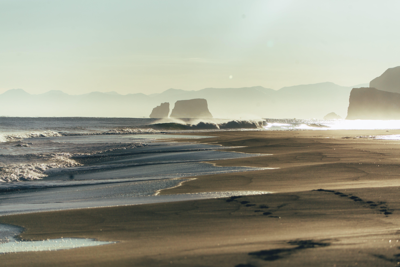 Fotos de stock gratuitas de amanecer, arena, con niebla, costa