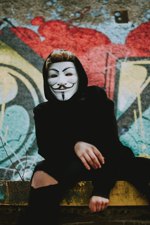 Person Wearing Guy Fawkess Mask