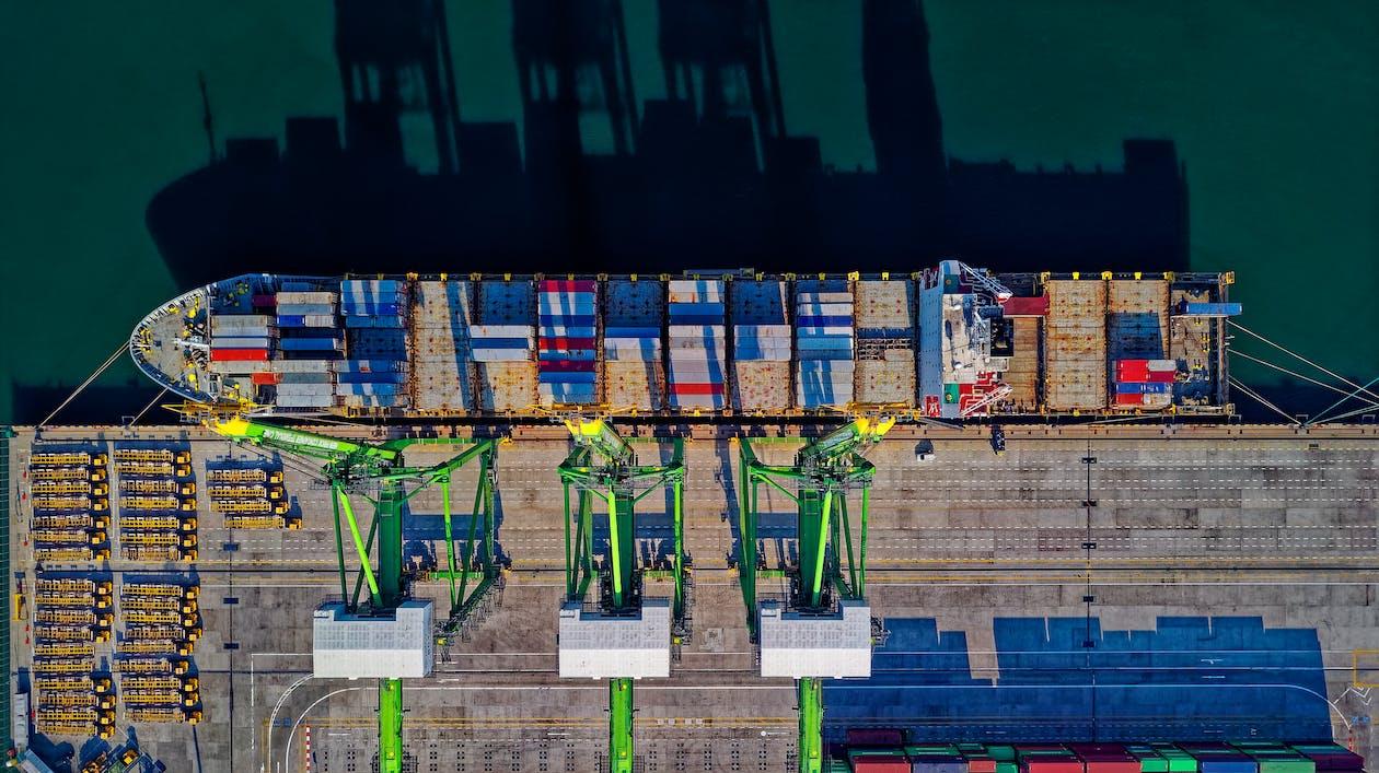Aerial View of Cargo Ship