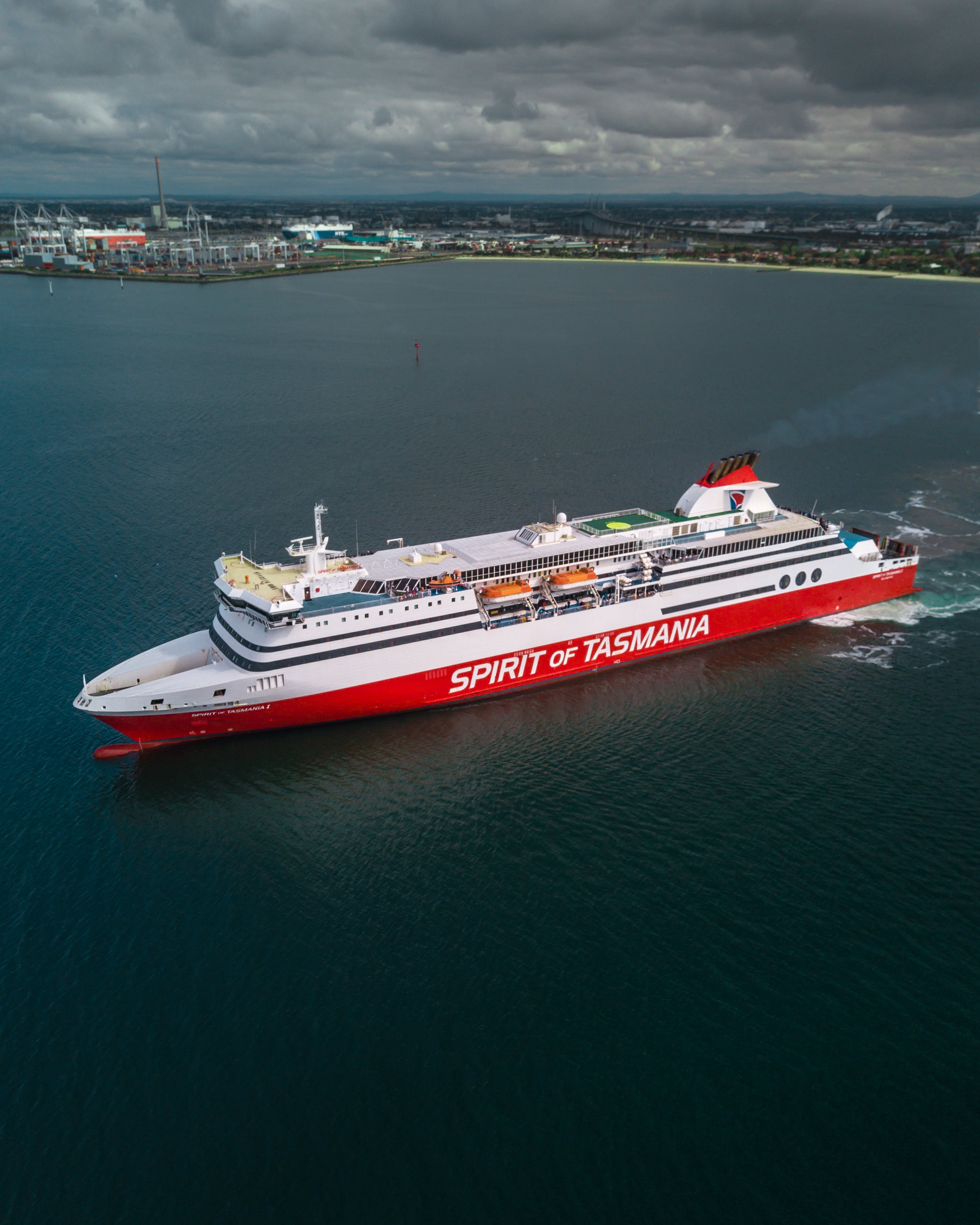 White and Red Spirit of Tasmania Cruise Ship on Body of Water