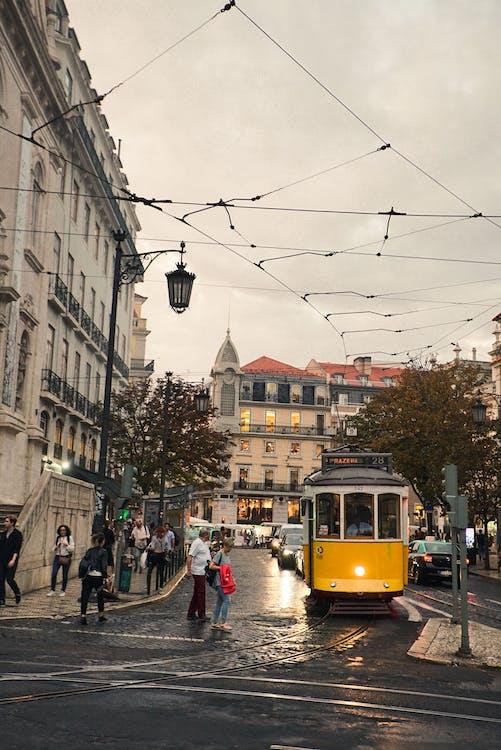 Yellow Tram in City Street