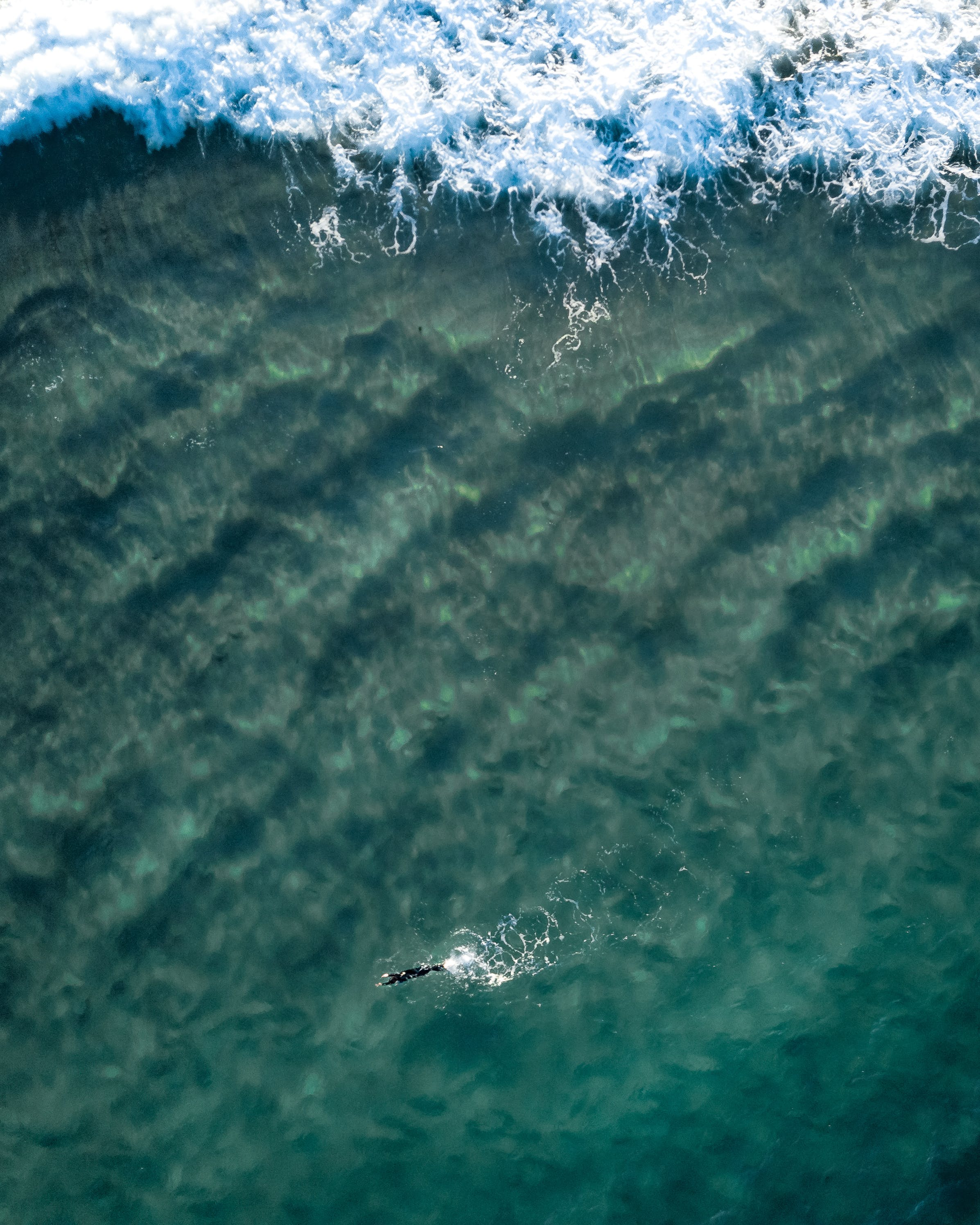 Aerial View of Person Swimming in Ocean