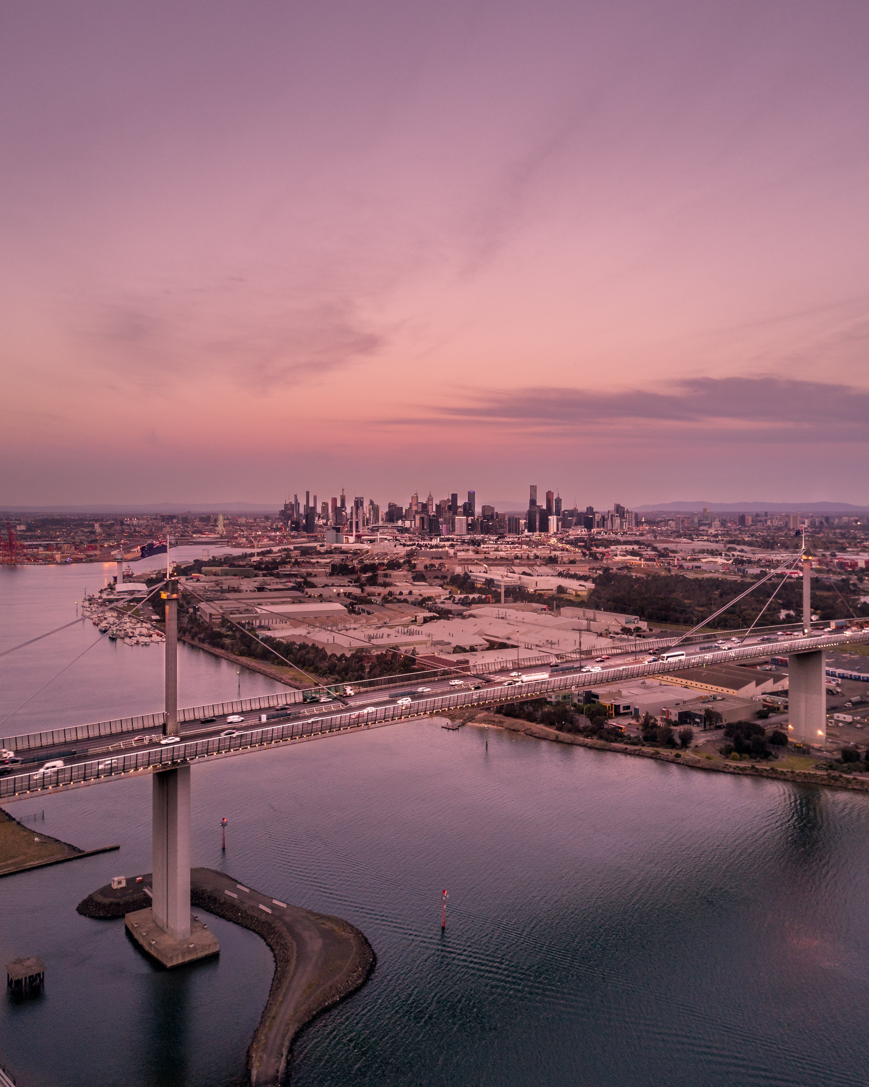 Aerial Photography of City Buildings and Bridge