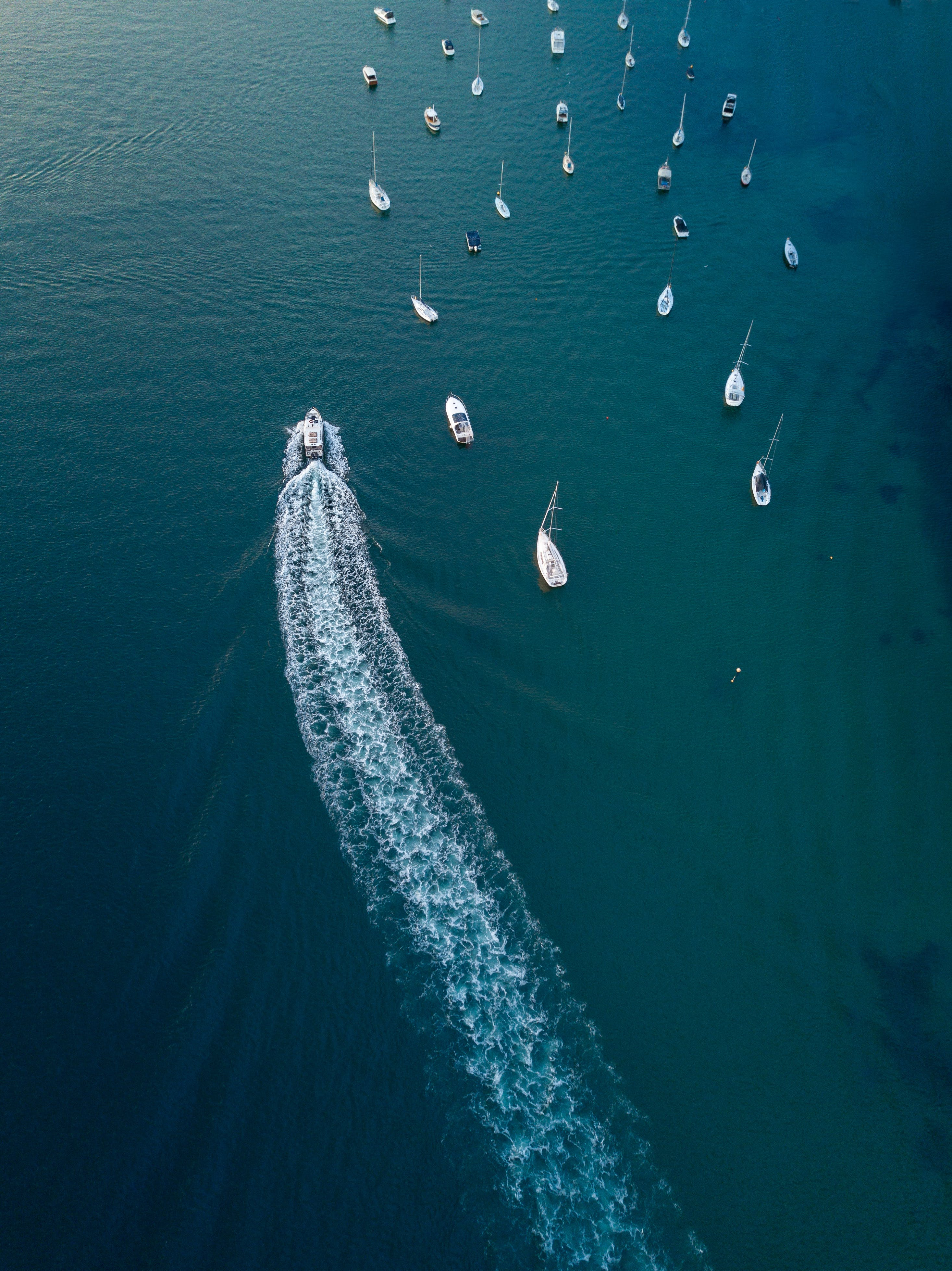 Aerial Photo of Motorboats