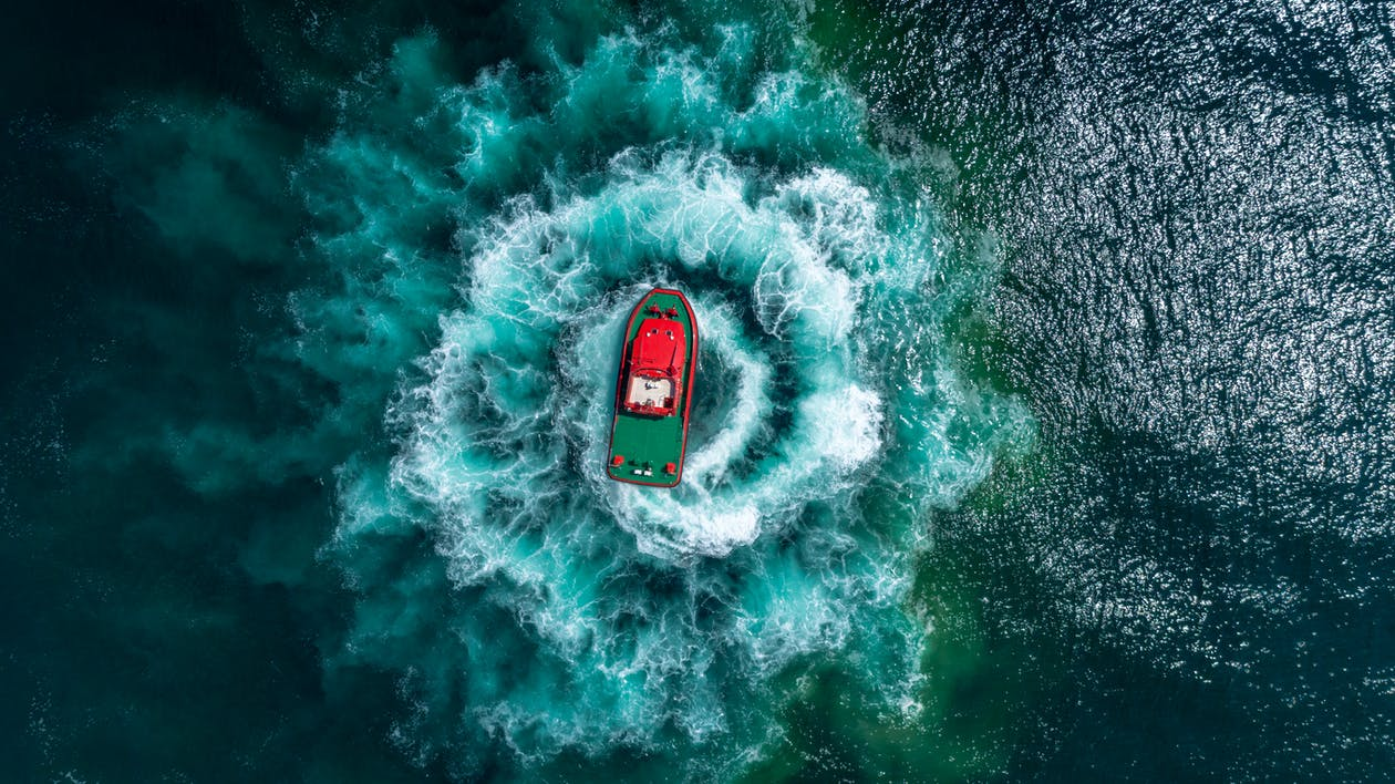 Top View Photo of Boat on Ocean