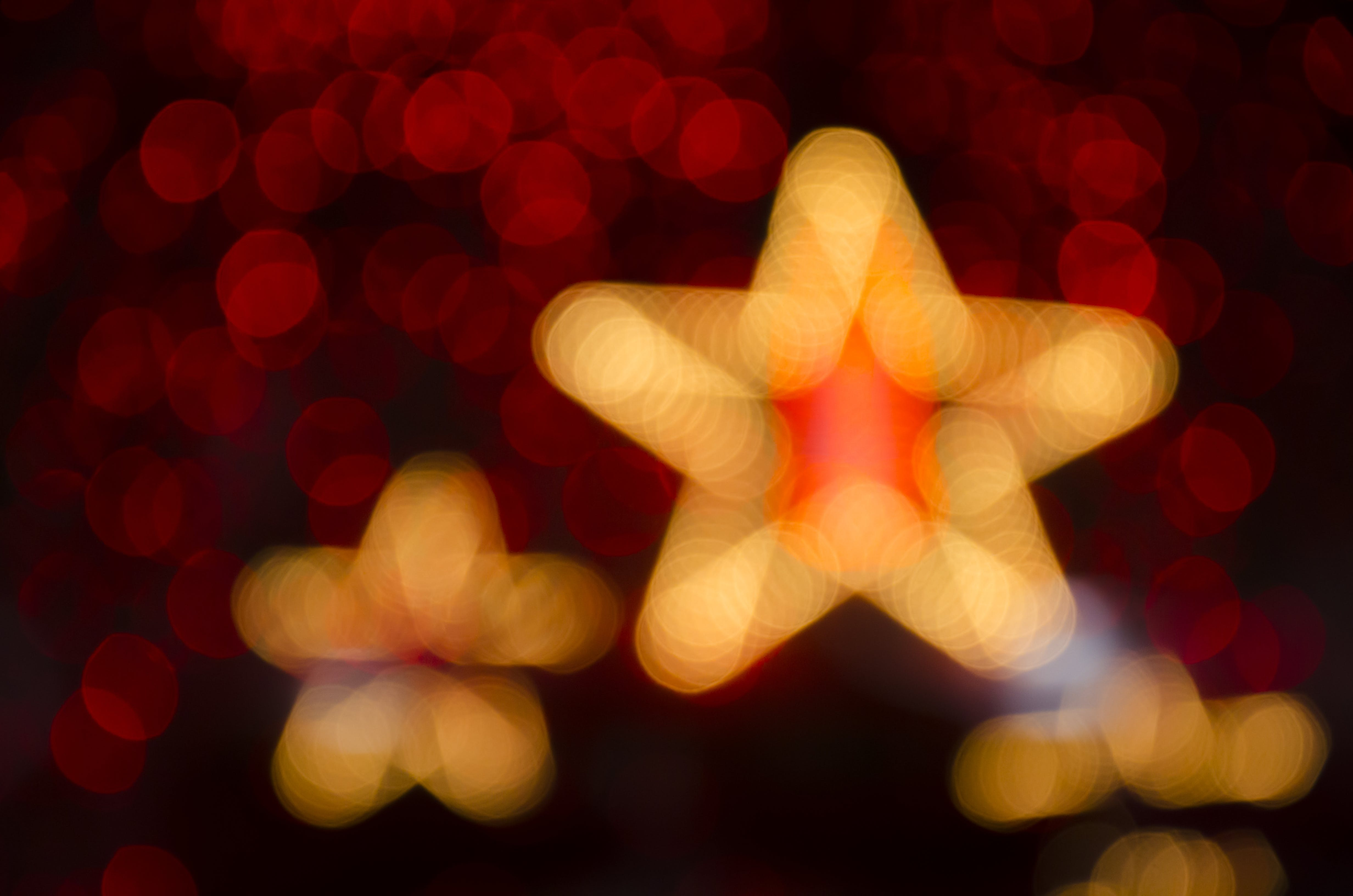 Orange Star Bokeh Light