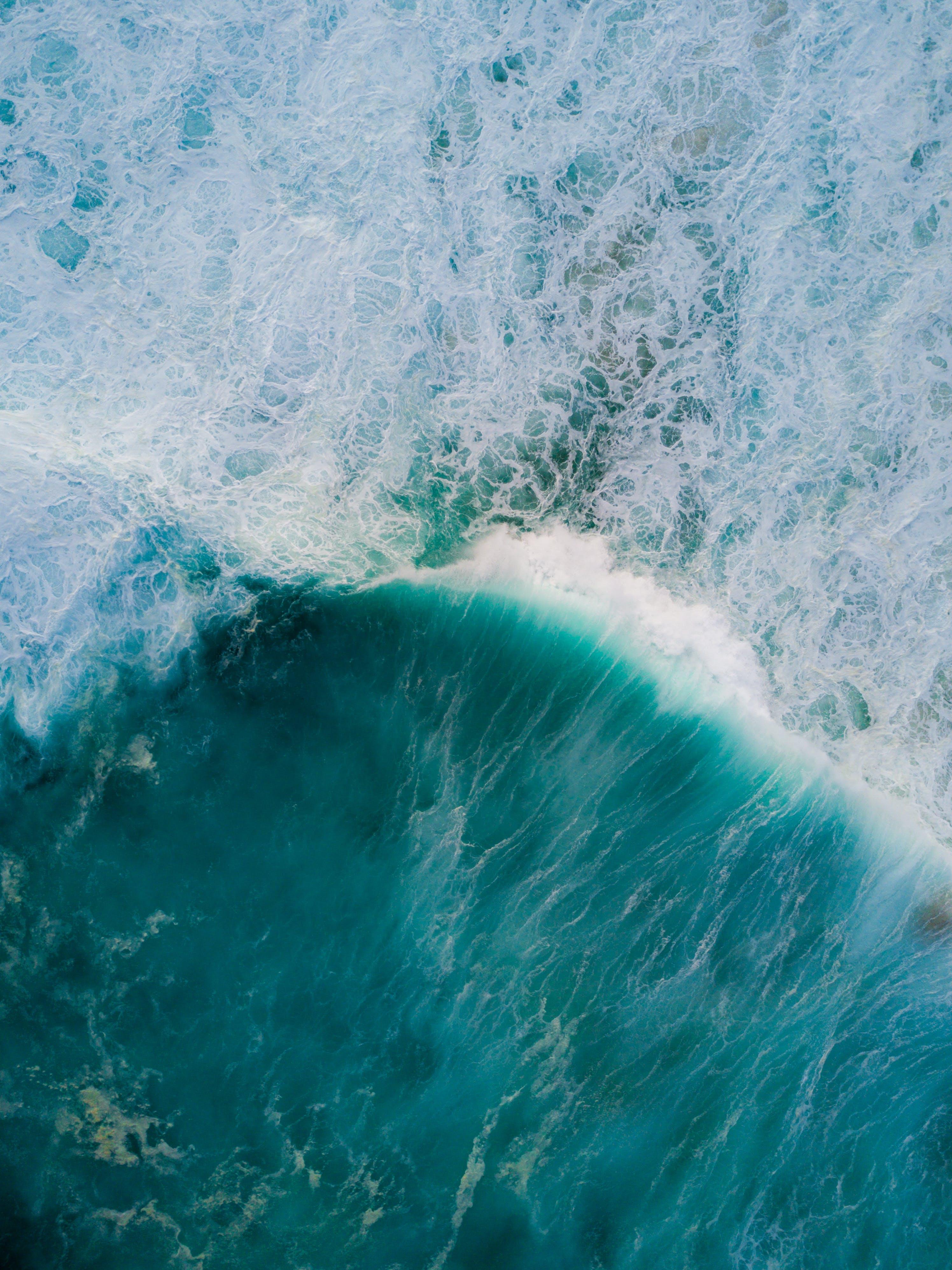 Foto d'estoc gratuïta de aigua, des de dalt, Escuma de mar, foto aèria